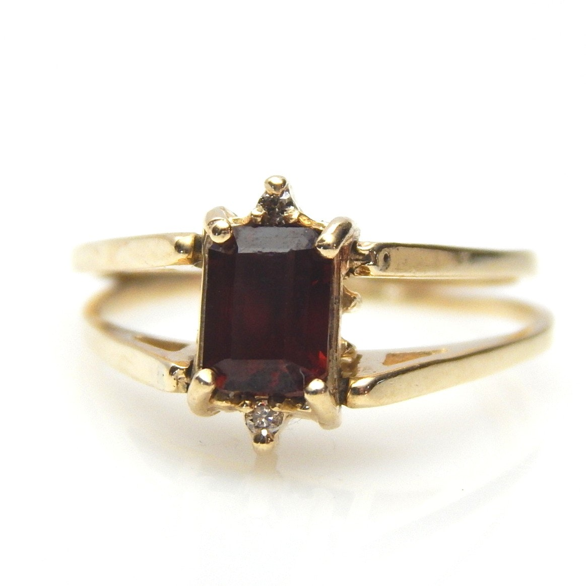 14K Yellow Gold Garnet and Diamond Flip Ring
