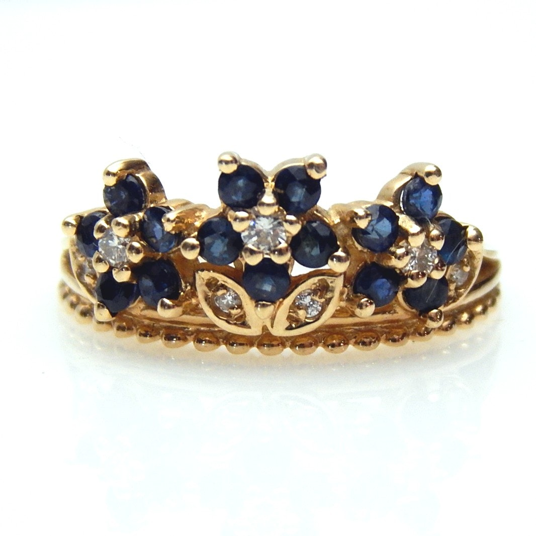 14K Yellow Gold Blue Sapphire and Diamond Tiara Ring