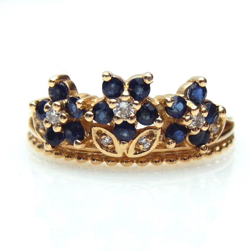 14K Yellow Gold Blue Sapphire and Diamond Tiara Ring