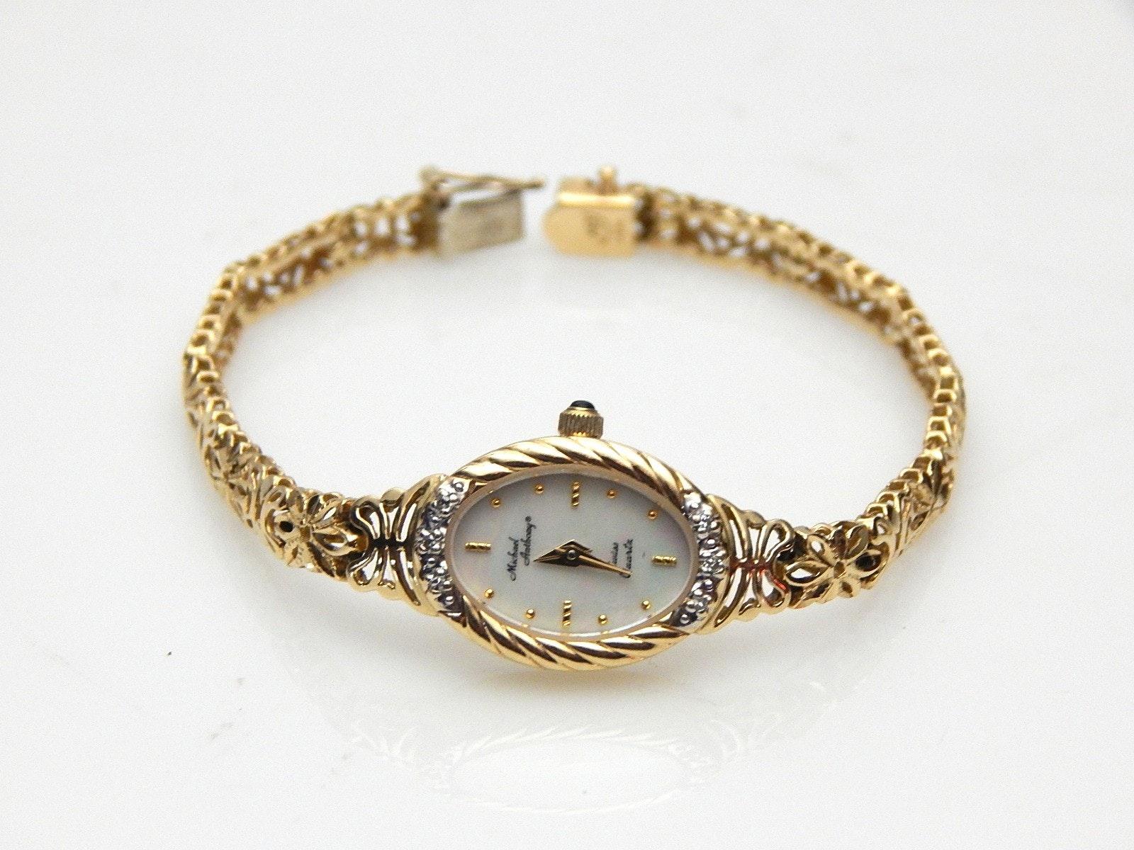 14K Yellow Gold Michael Anthony M.O.P. Oval Diamond Wristwatch