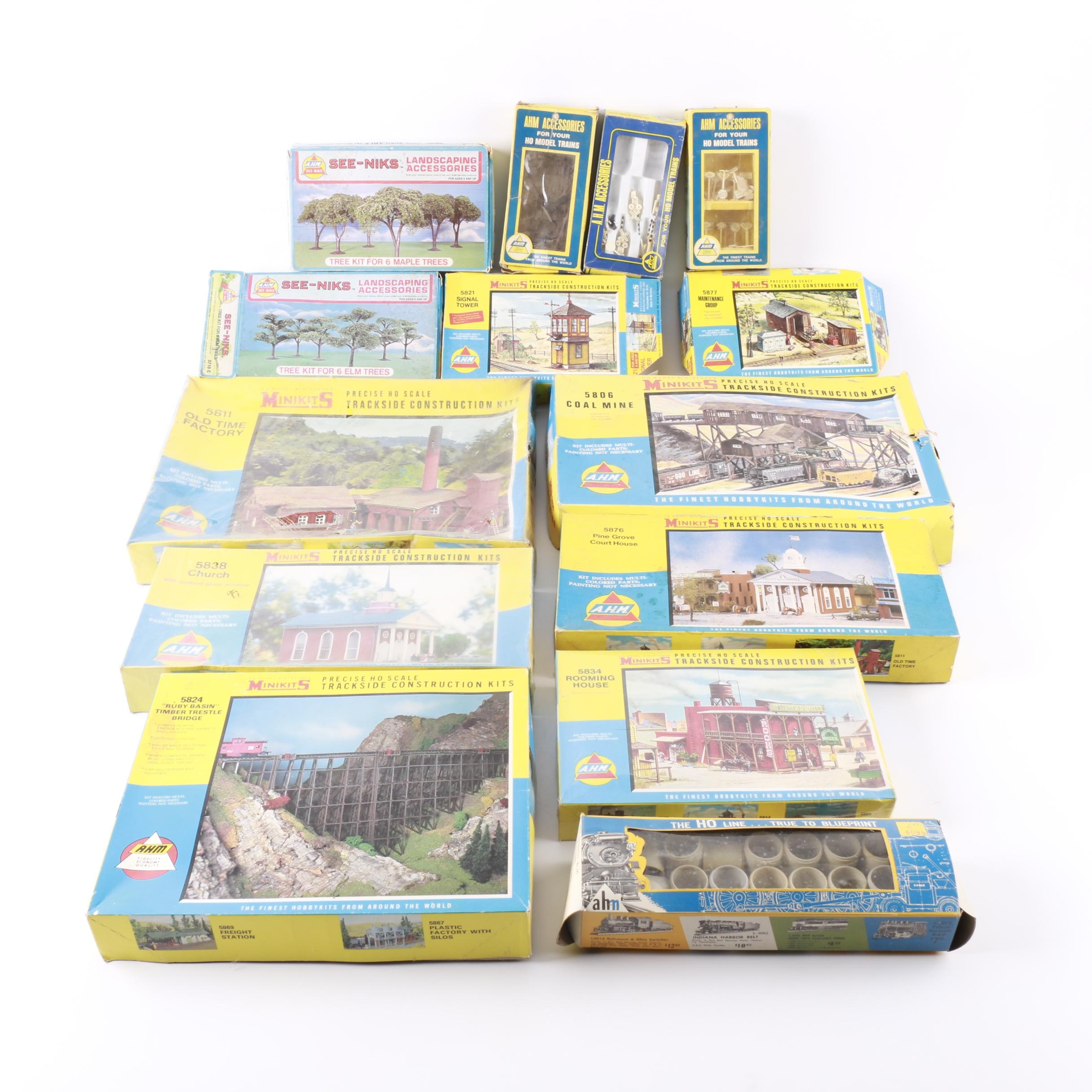 Collection of Model Kits for Railroad Scenes
