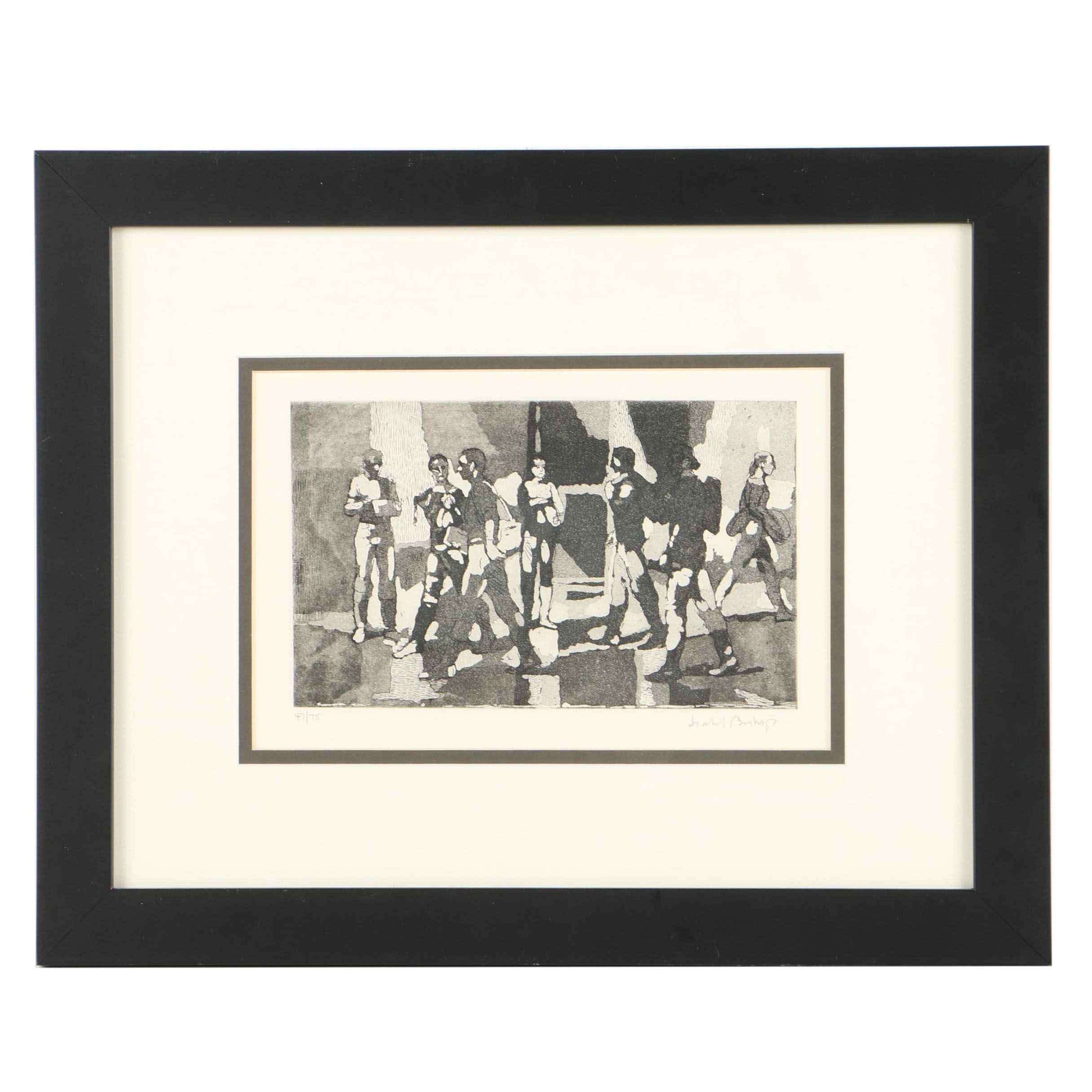 "Isabel Bishop Limited Edition Etching on Paper ""Seven Students"""