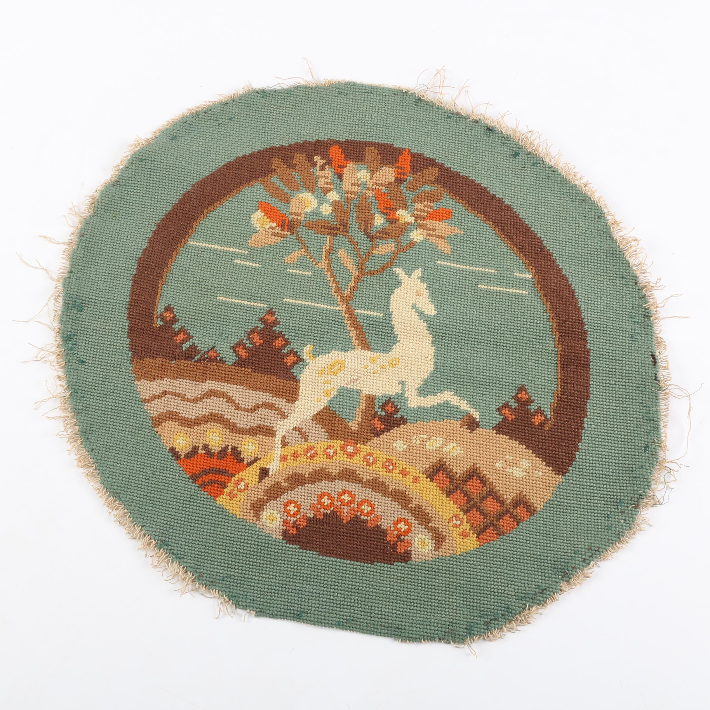 Vintage Mid-Century Needlepoint Round Pillow Cover