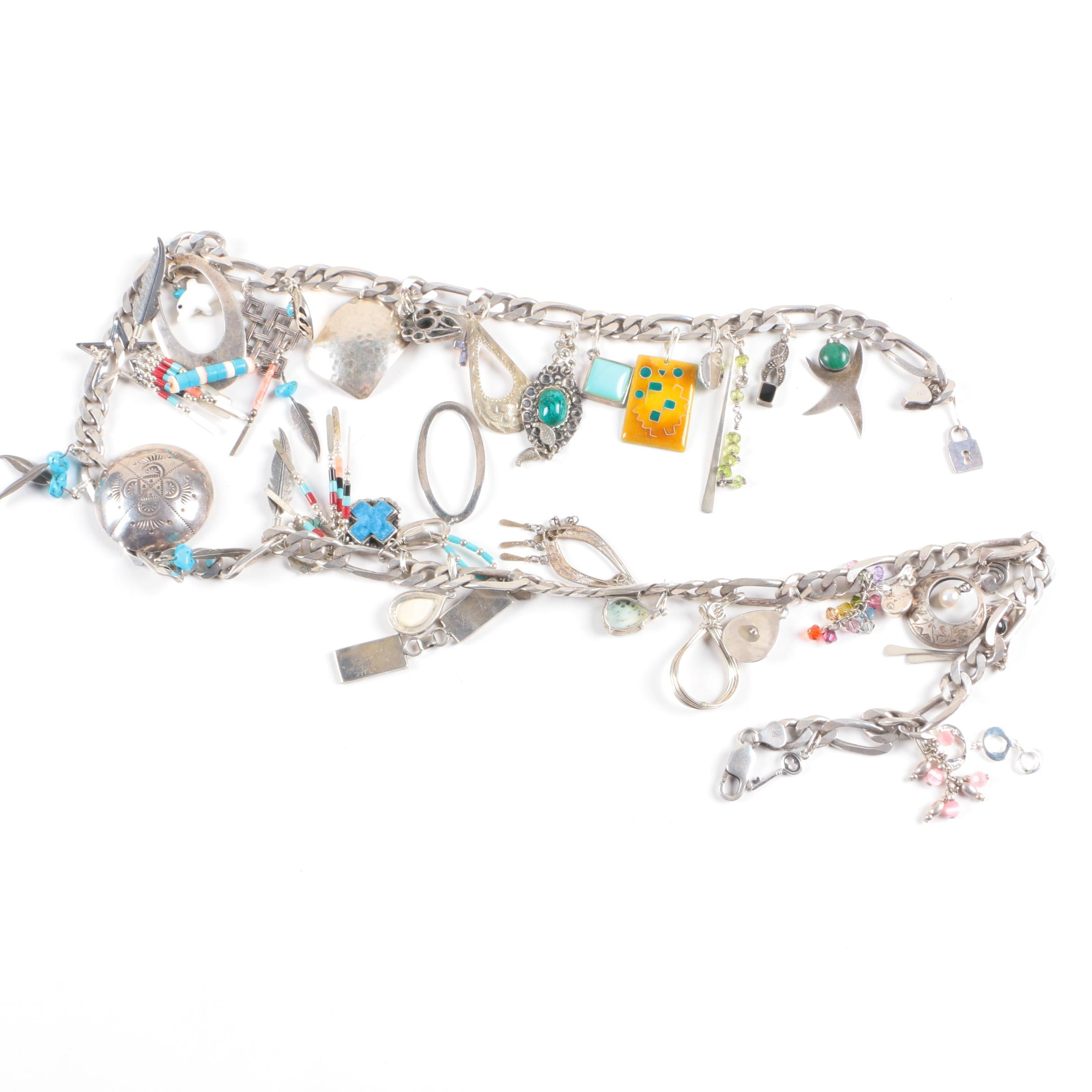 Sterling Silver Charm Necklace Including Gemstones and Abalone