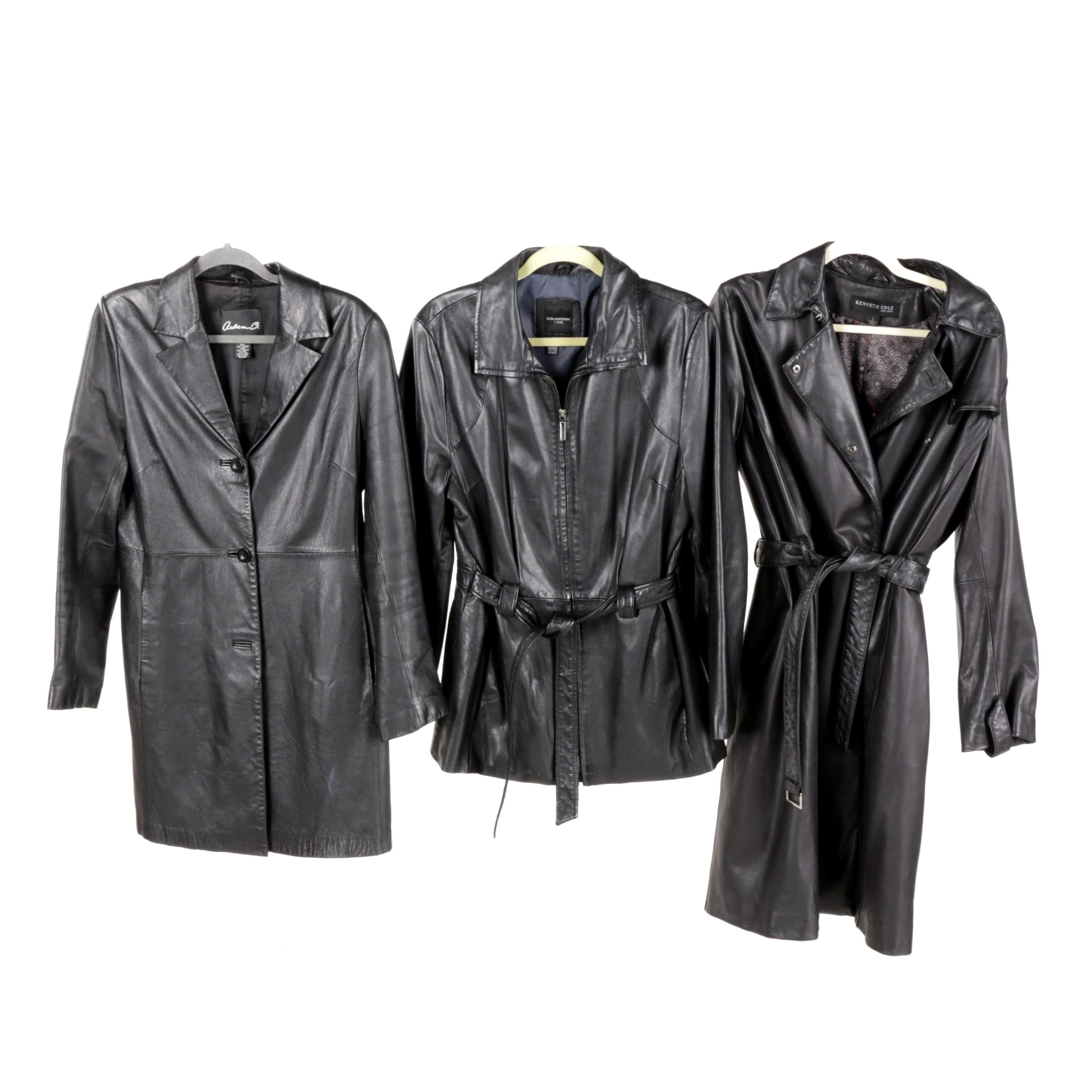 Women's Black Leather Coats Including Kenneth Cole New York