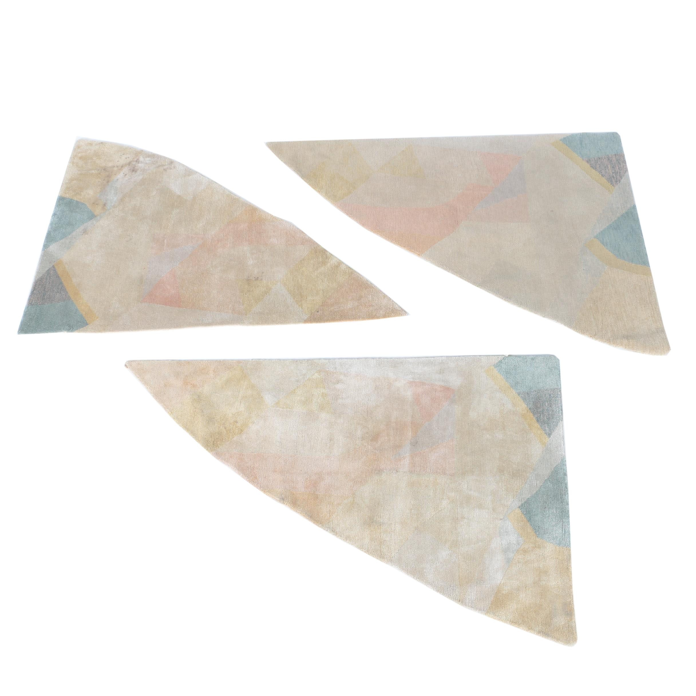 Hand-Knotted Contemporary Wool Triangular Accent Rugs