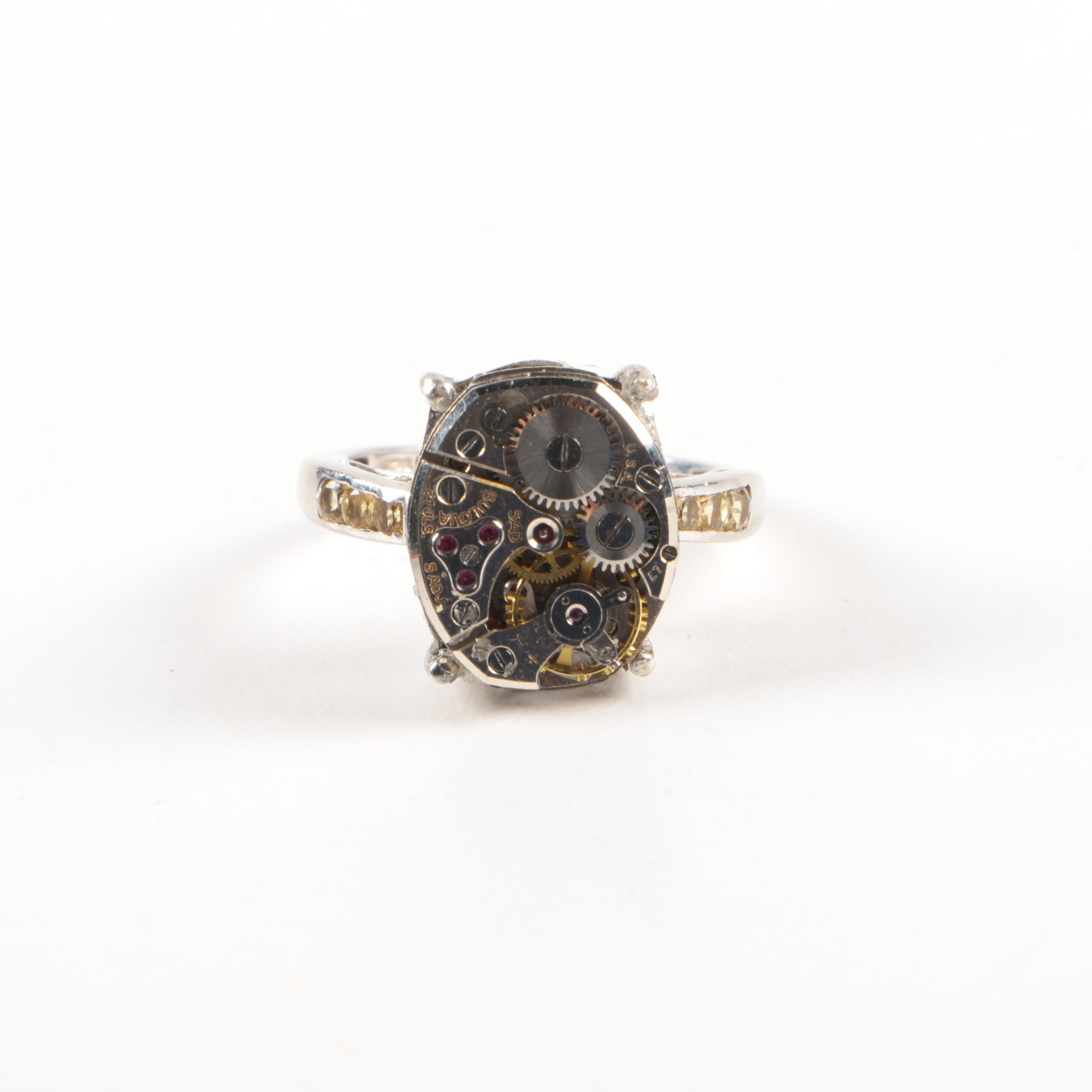 Sterling Silver Inverted Watch Ring Including Gemstones