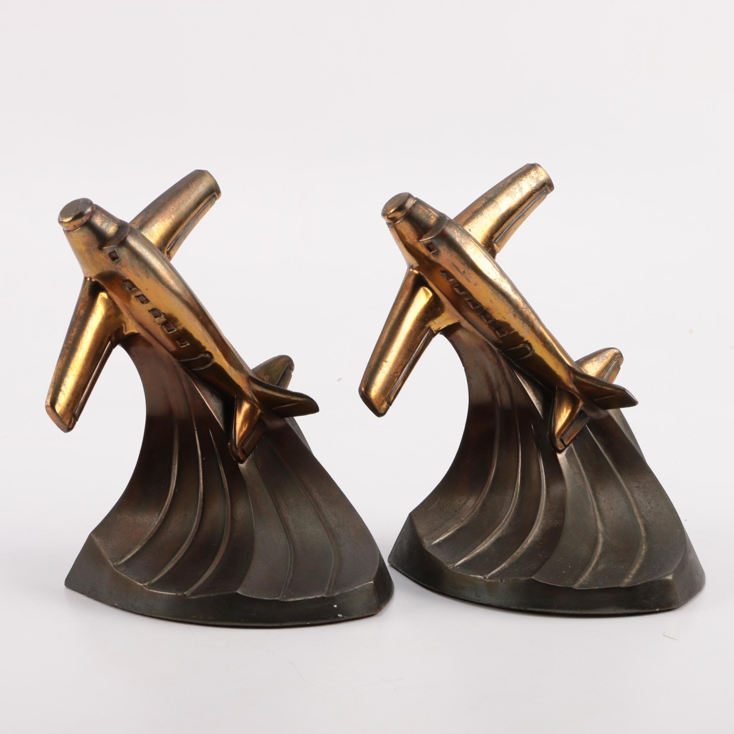 Art Deco Style Brass Figurative Airplane Bookends