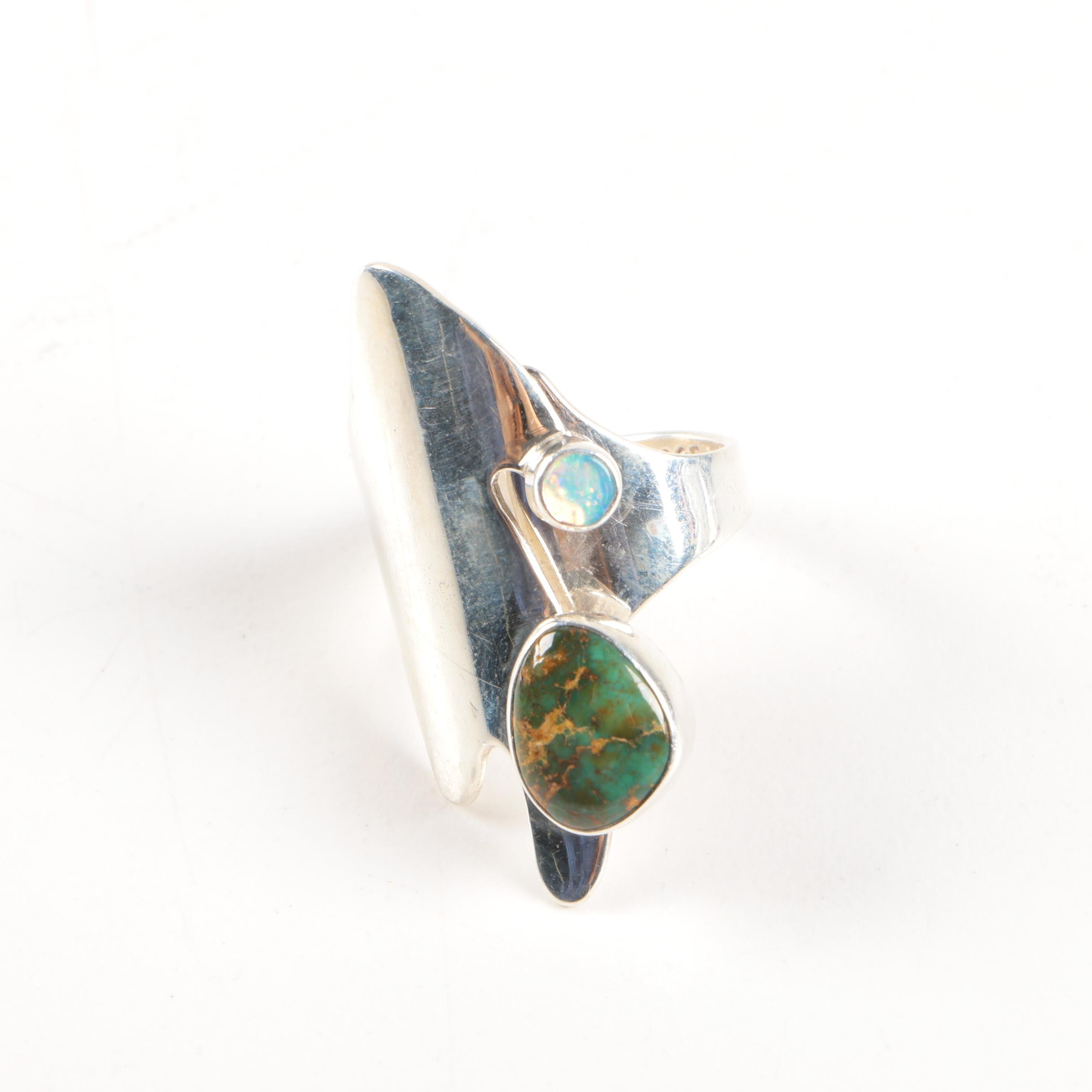 Lilly Barrack Sterling Silver Turquoise and Opal Ring