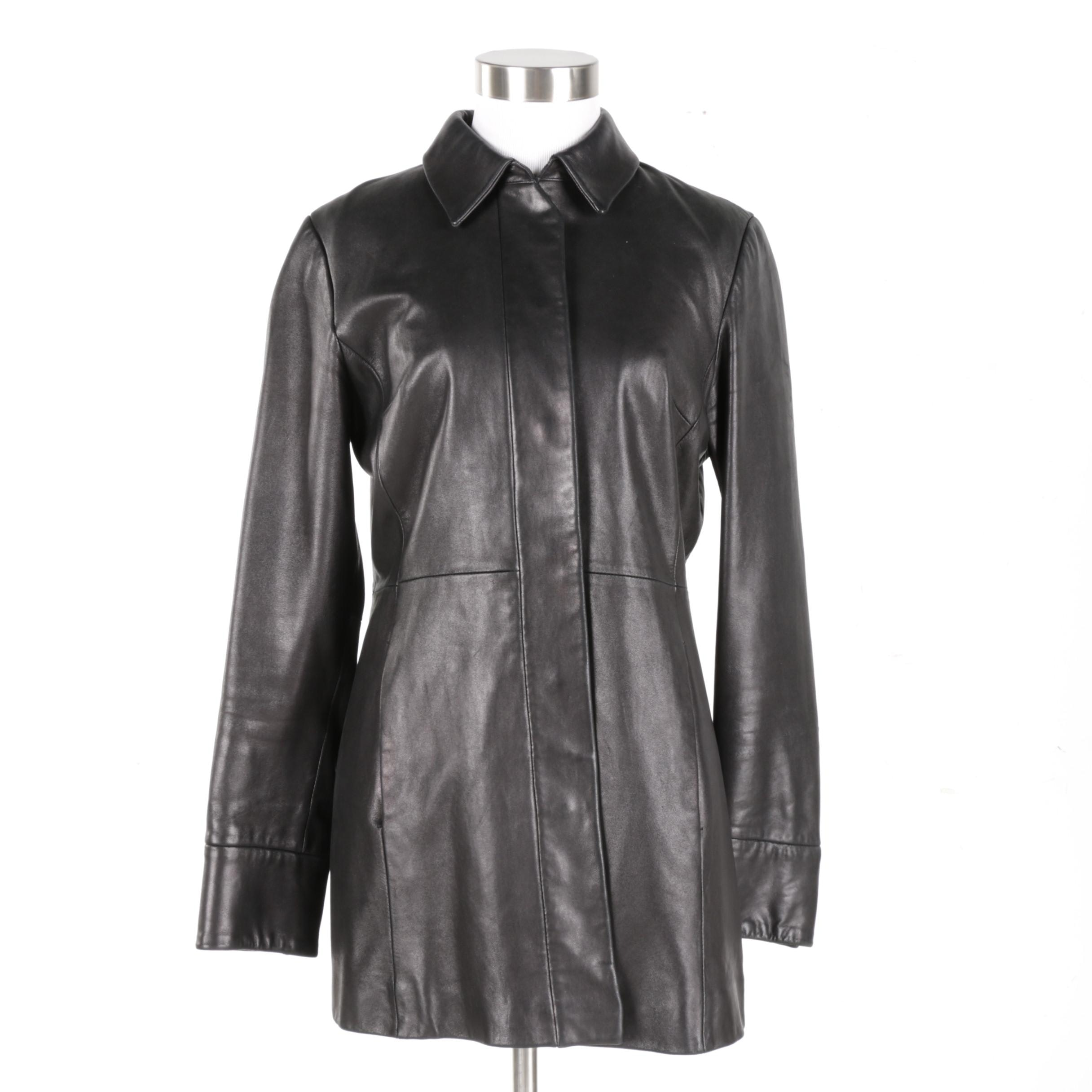Women's Banana Republic Black Leather Coat