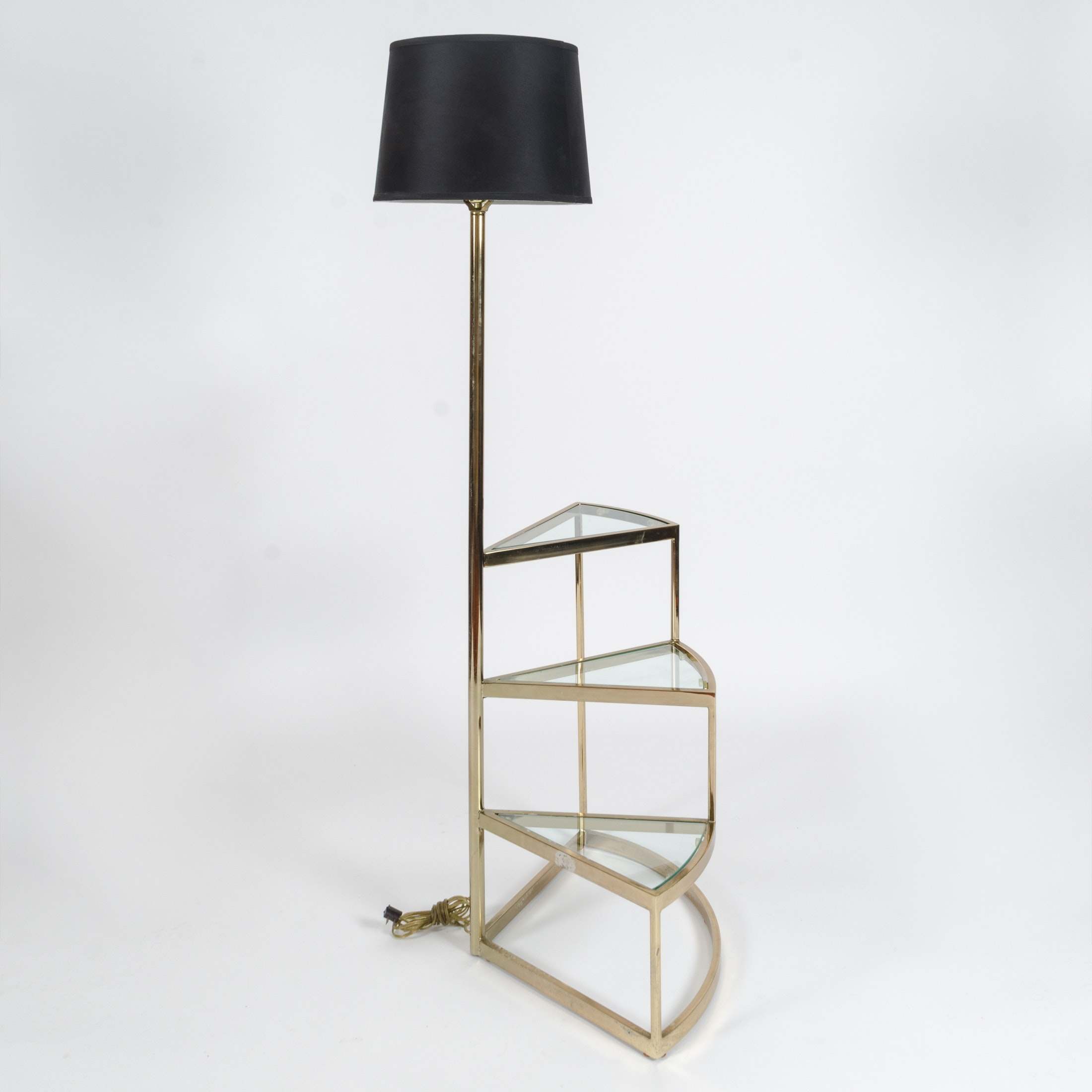 Tiered Lamp Table With Integrated Floor Lamp