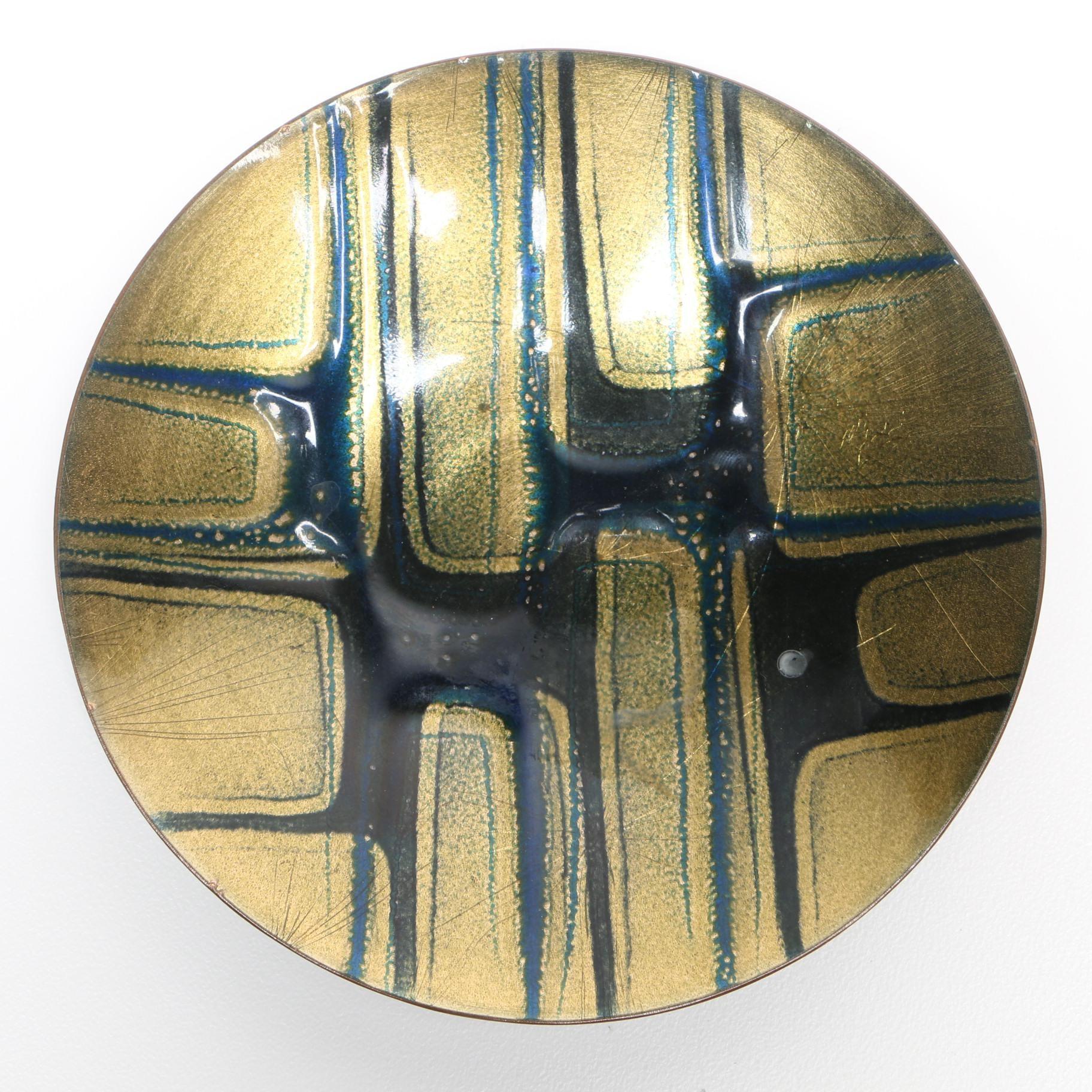 Mid Century Modern Jules Perrier Enameled Copper Plate