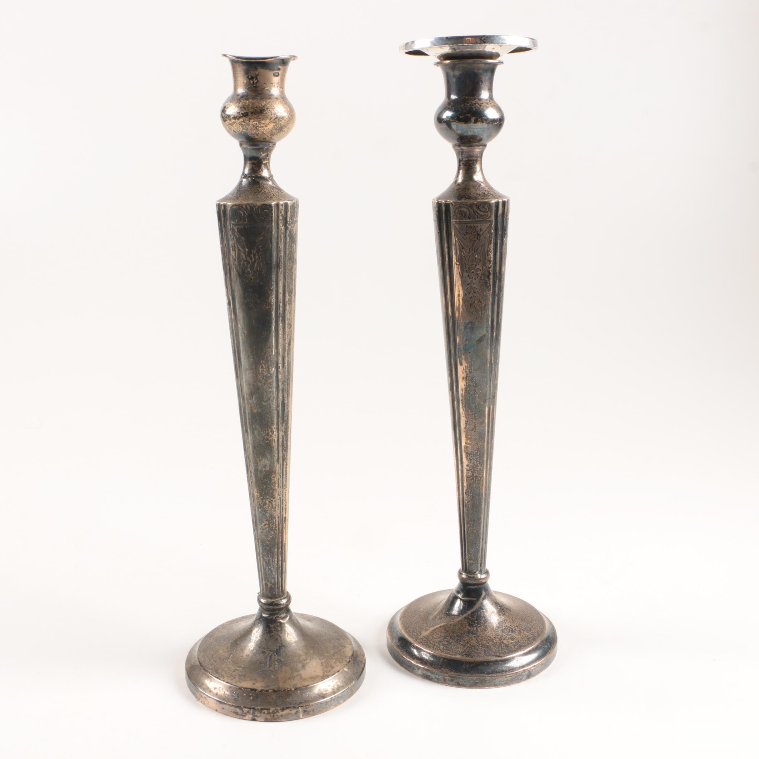 Tapered Weighted Sterling Silver Candleholders