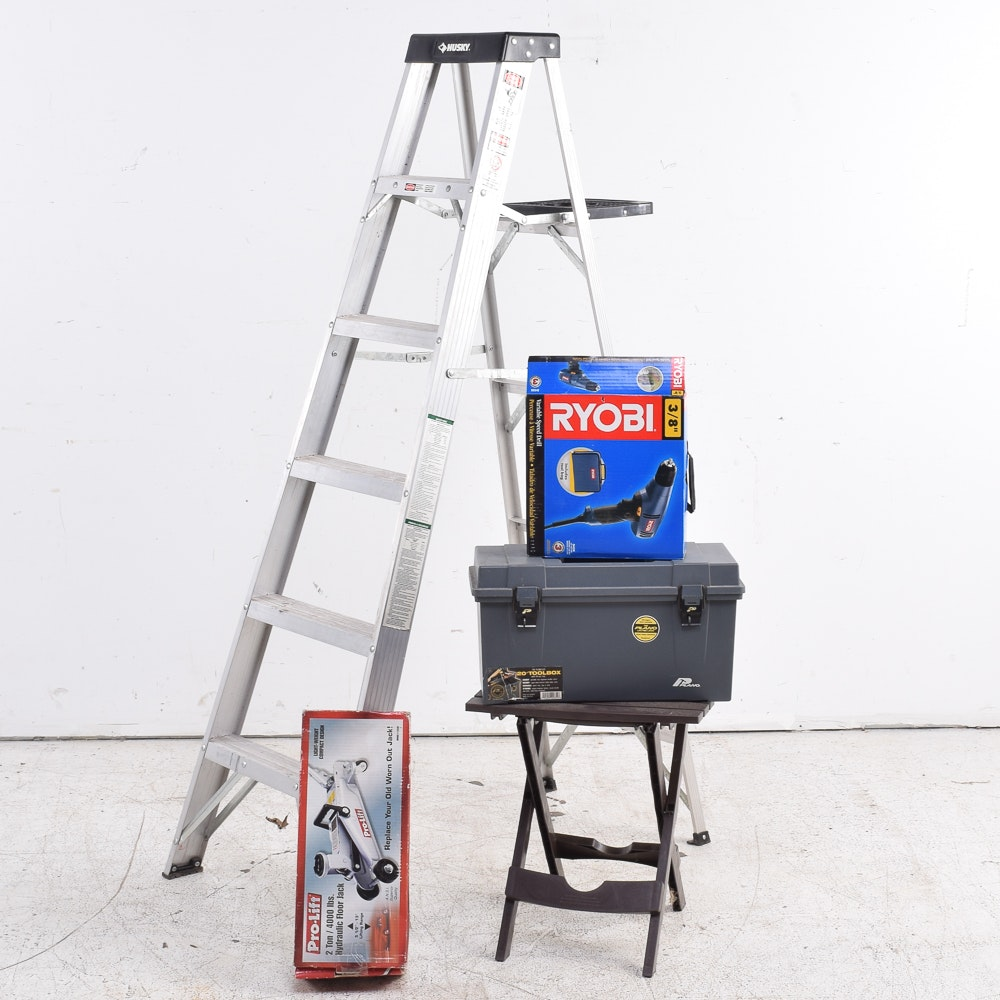 Husky Ladder with Assorted Tools and Folding Table