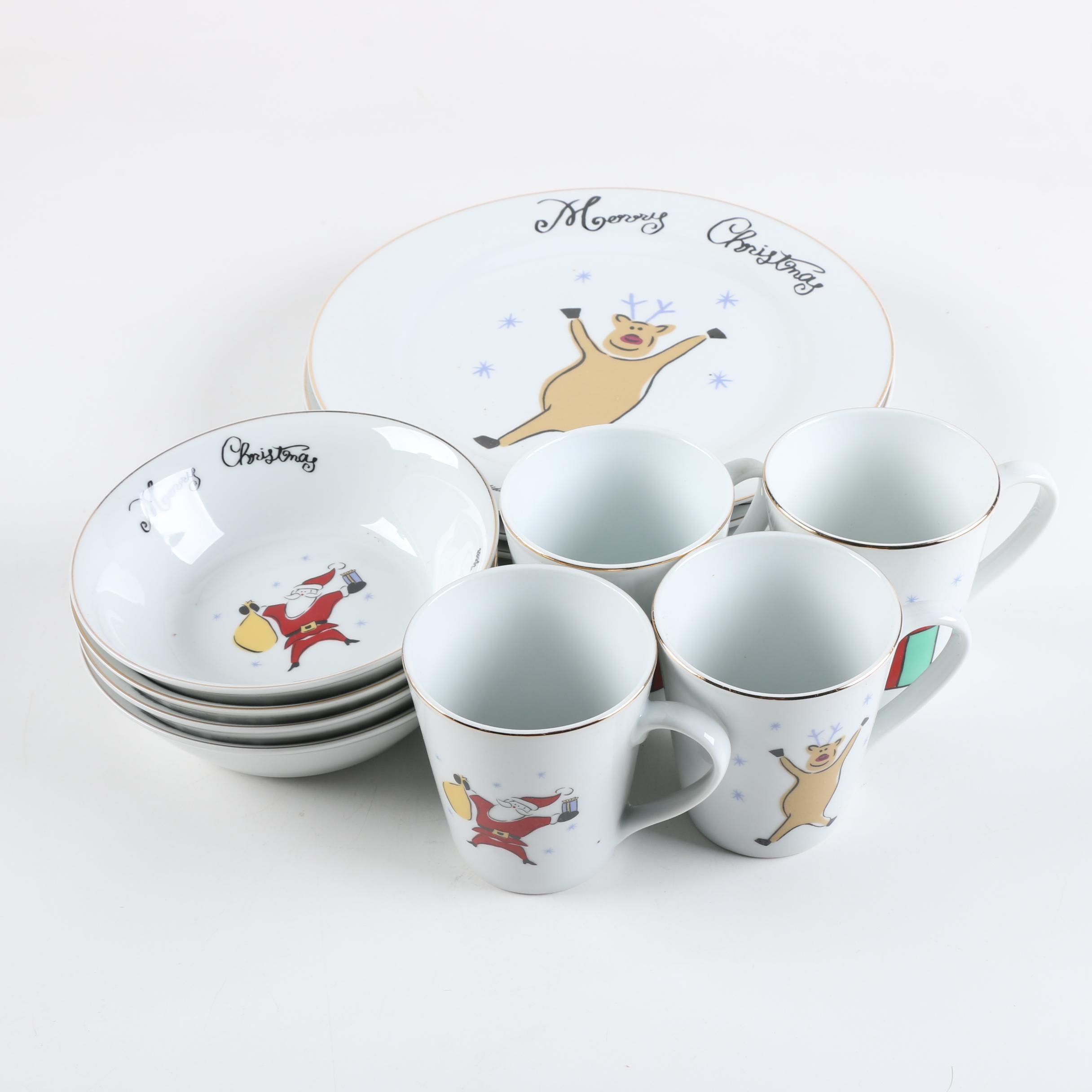 "Merry Brite ""Merry Christmas"" Porcelain Dinnerware Set"