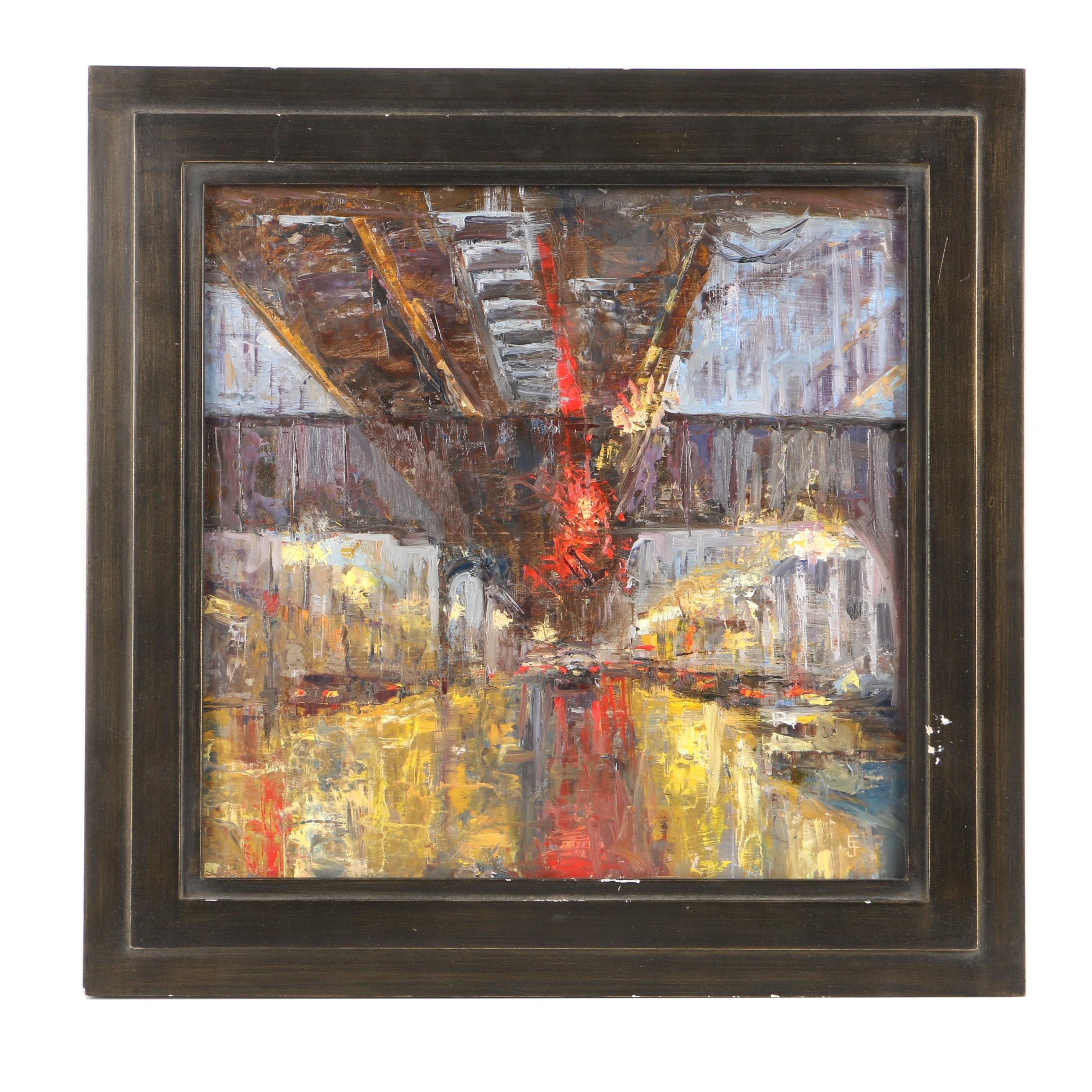 "Errol Jacobson Oil Painting on Panel ""Abstract City"""