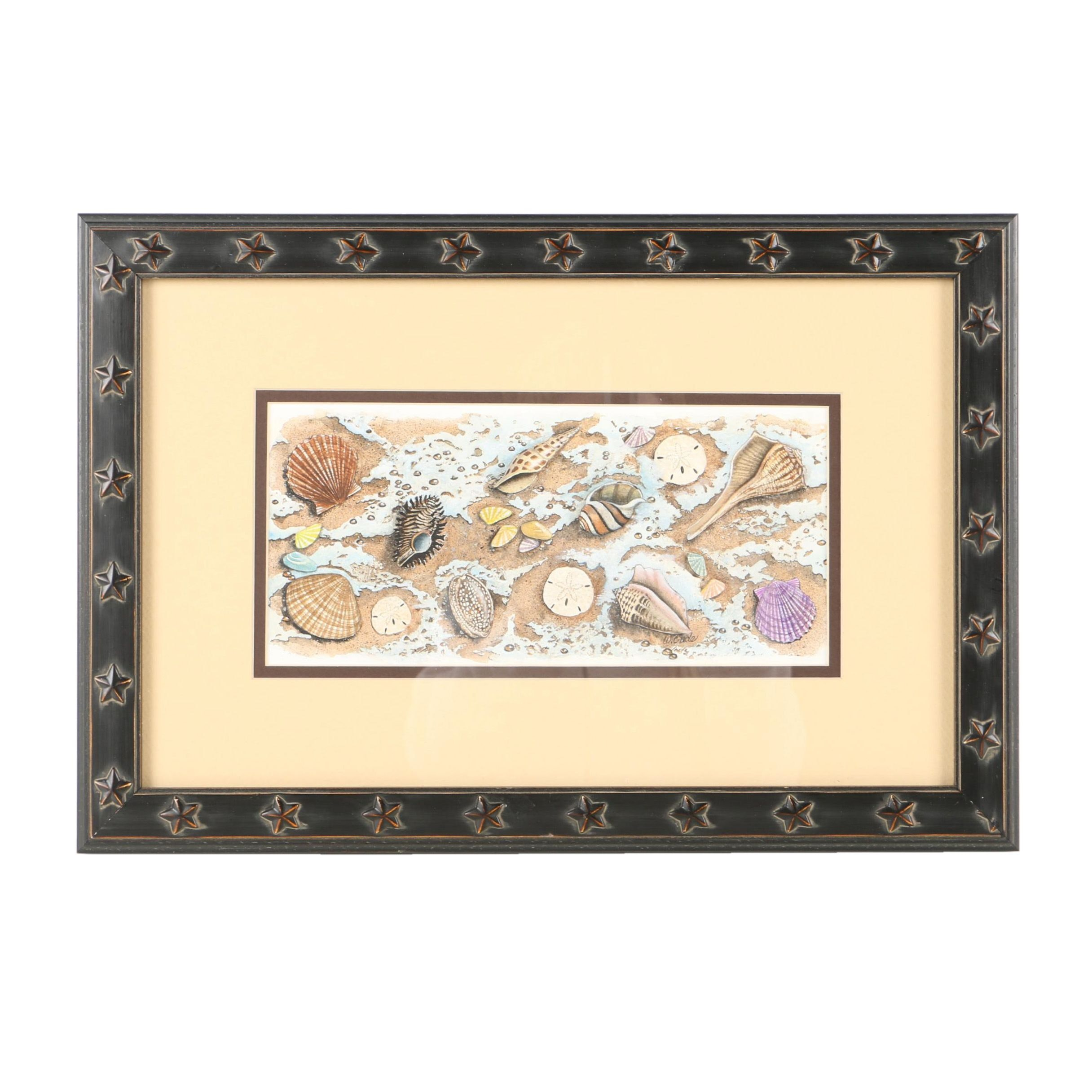 Walt Cude Watercolor Painting on Paper of Sea Shells