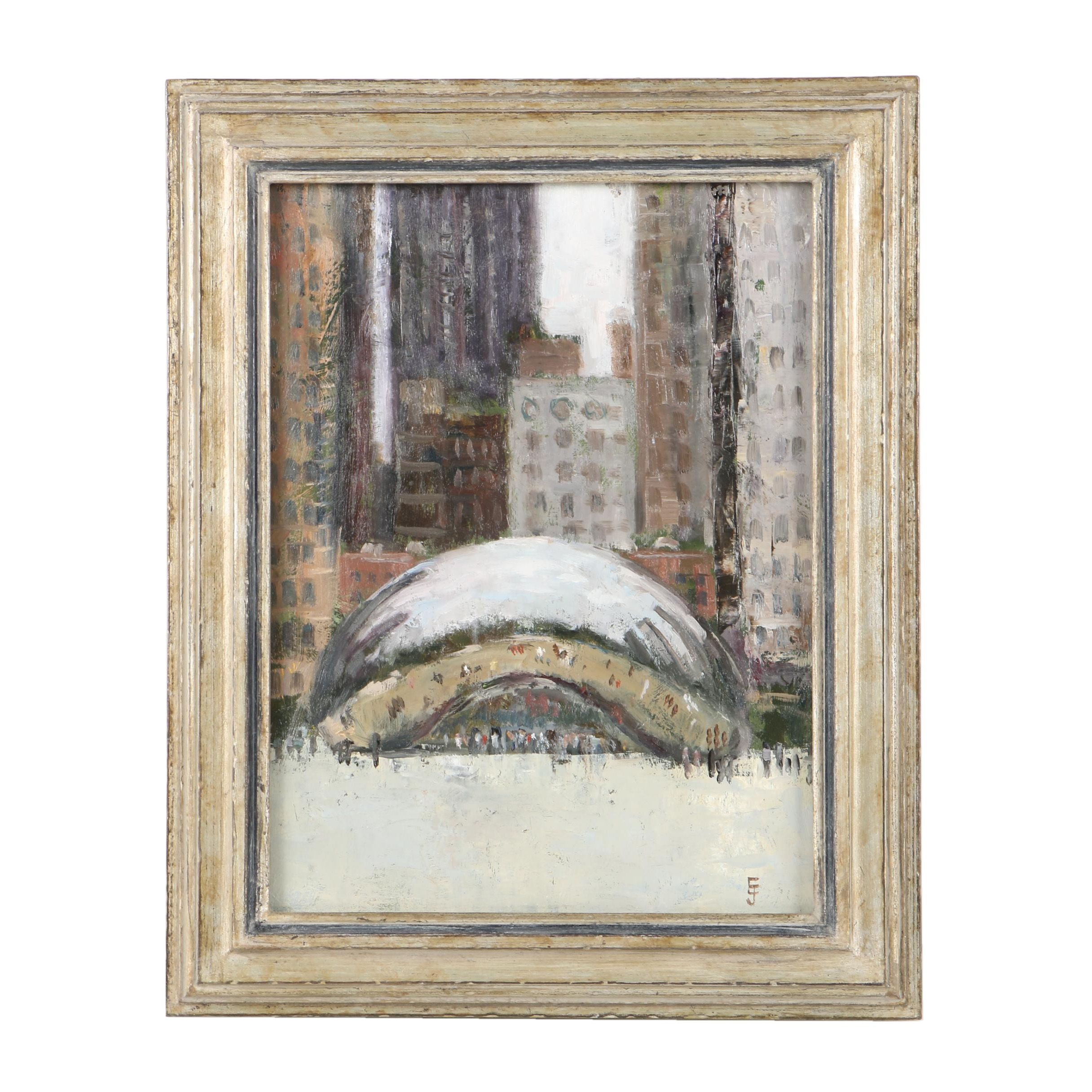 """Errol Jacobson Oil Painting on Panel of """"Cloud Gate"""" in Millennium Park"""
