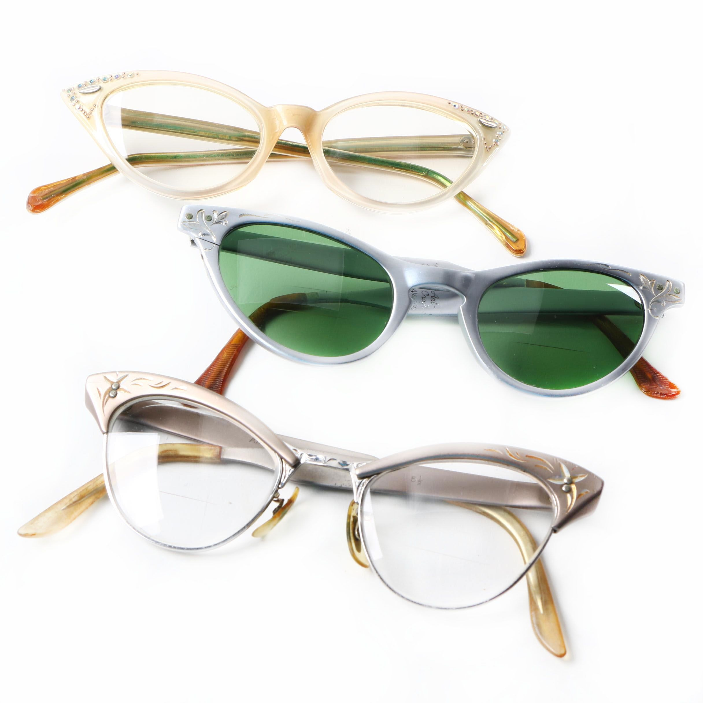 Vintage Cat-Eye Glasses Including Art-Craft and American Optical