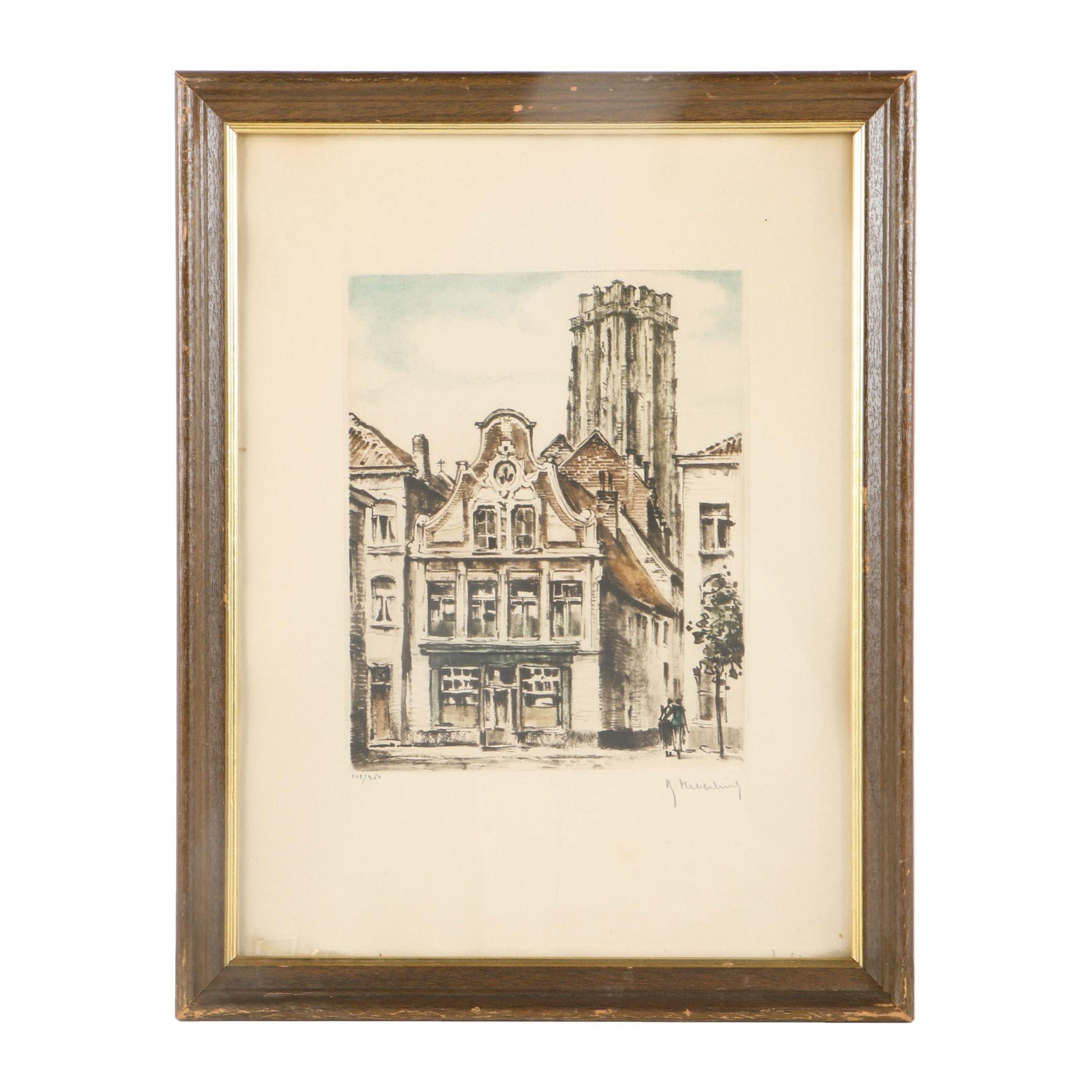 """Roger Hebbelinck Limited Edition Lithograph on Paper """"Mechelen Vismarkt"""""""