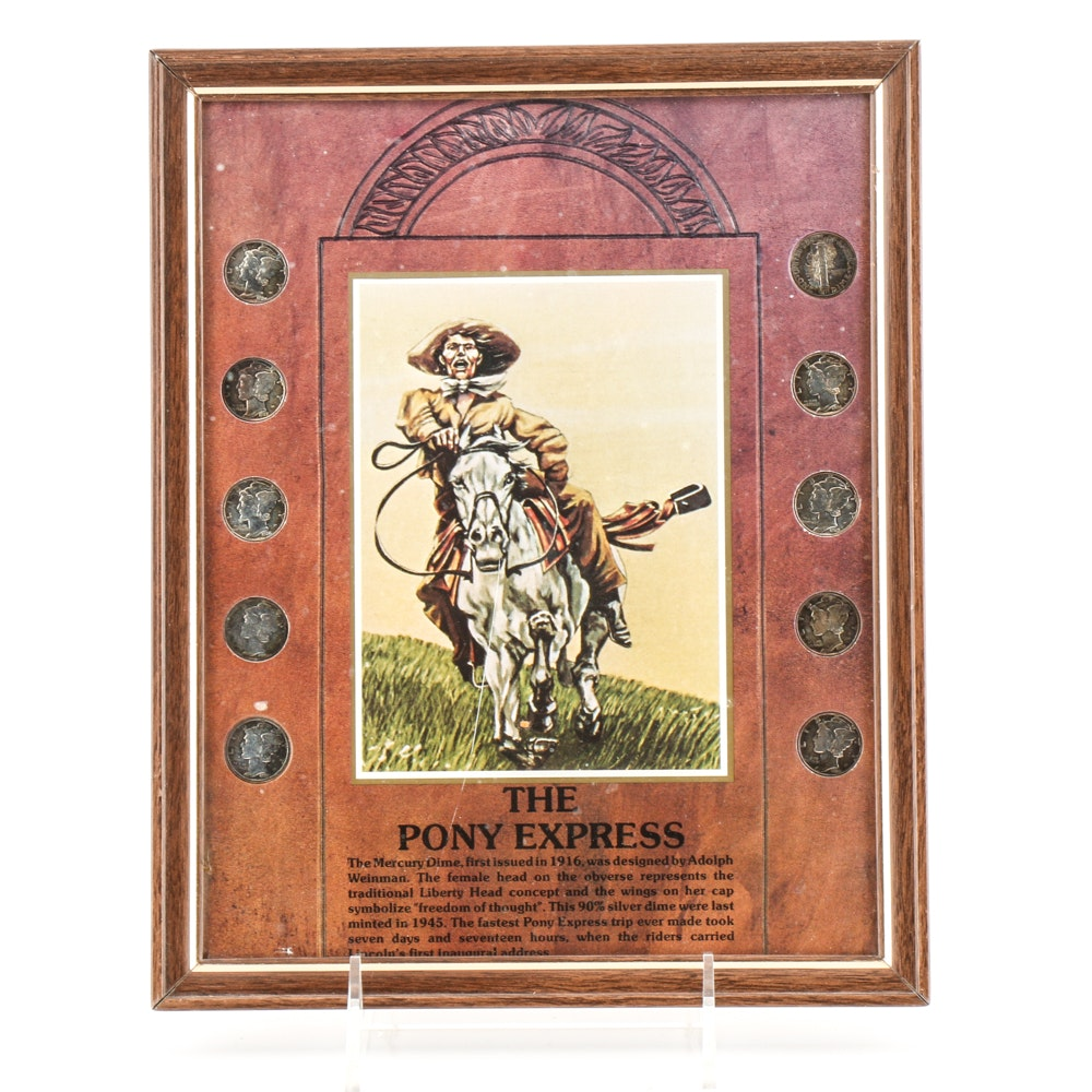 """Framed Mercury Dime Collection """"The Pony Express"""""""