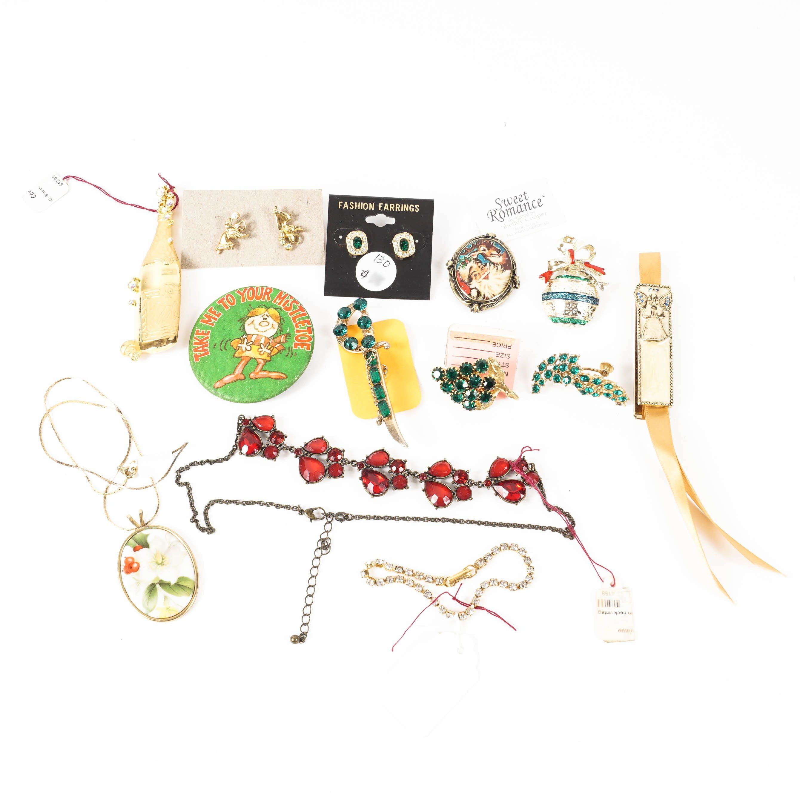 """Vintage Christmas Costume Jewelry Including """"Sweet Romance"""""""