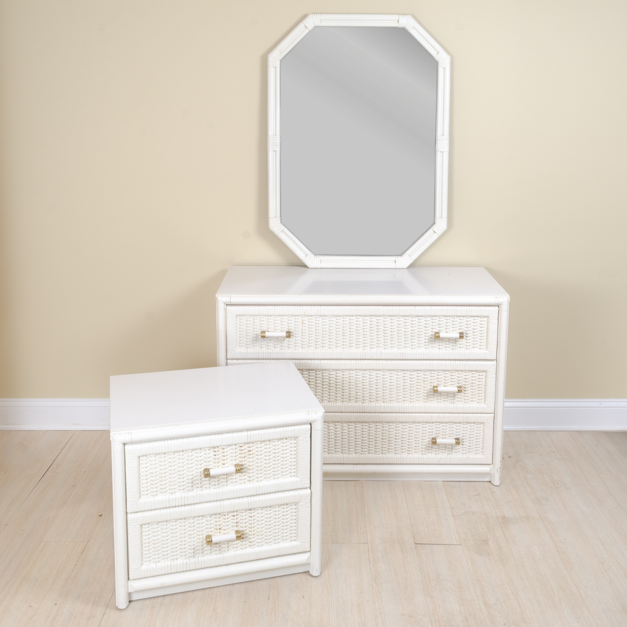 Vintage Nightstand and Chest of Drawers with Mirror