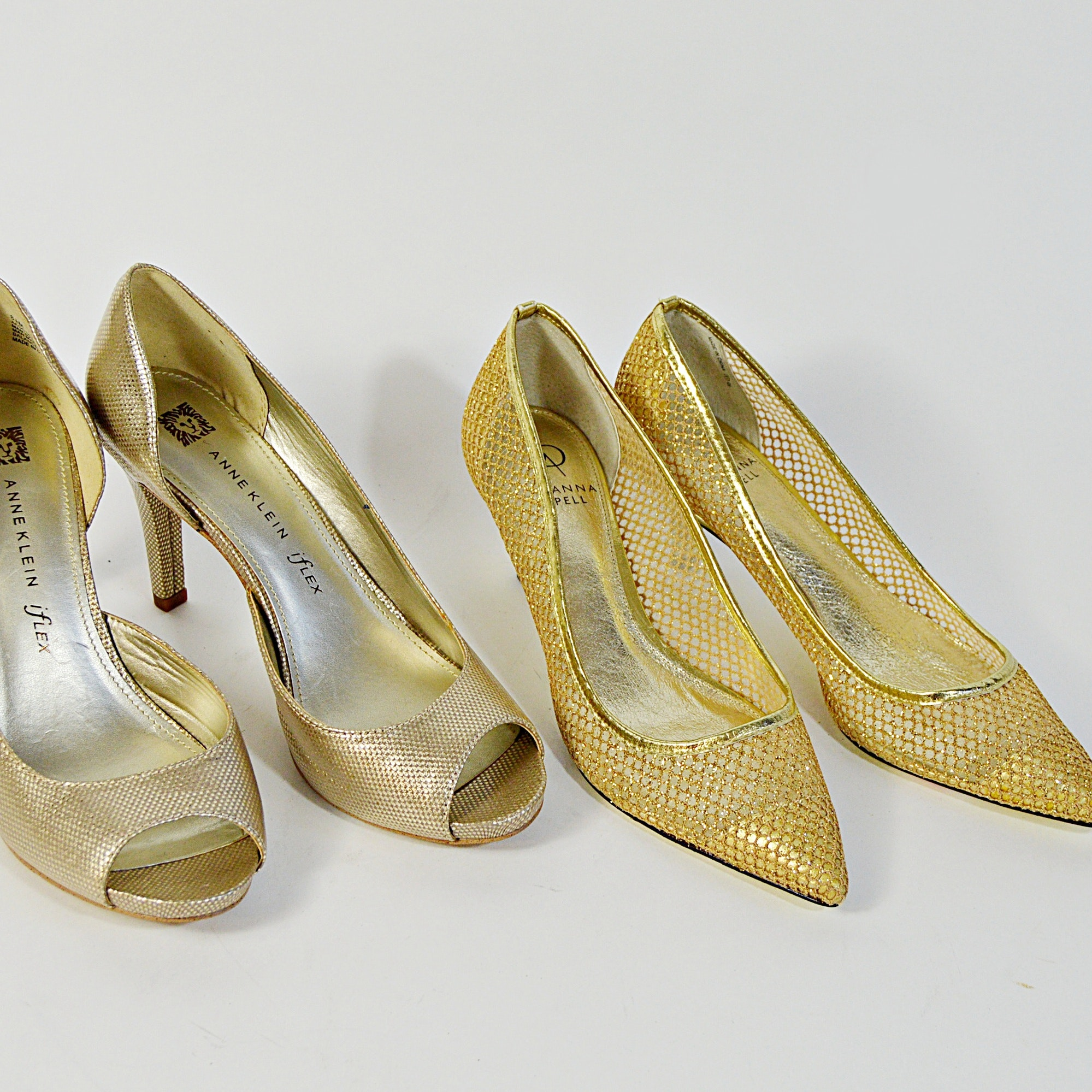 Anne Klein and Adrianna Papell Gold Tone Heels, 8.5M