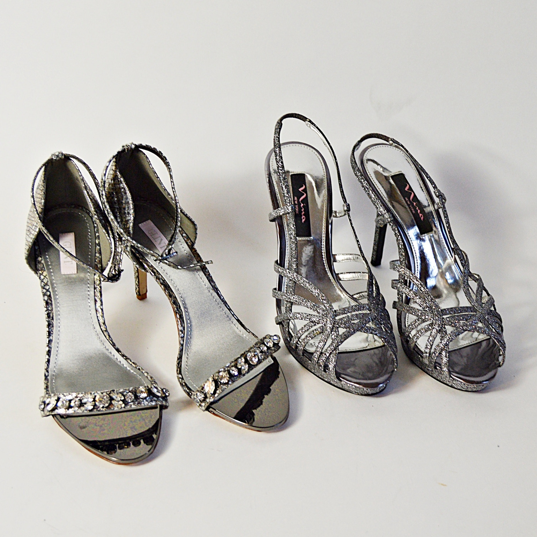 Glint and Nina Silver Tone Heels, 8M and 9M