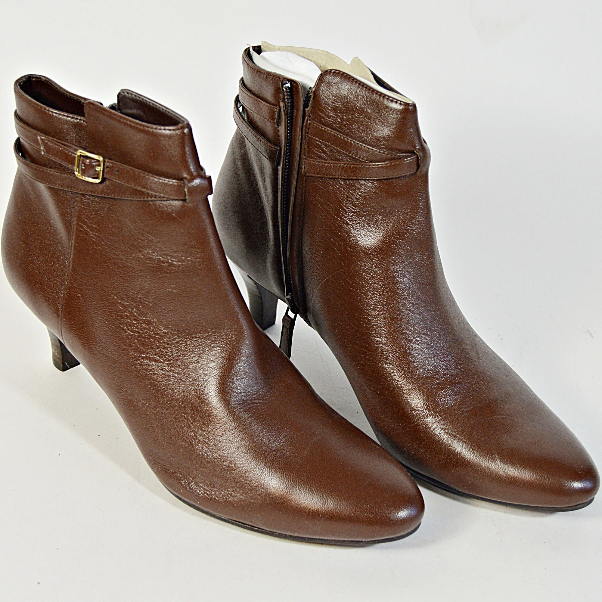 Cole Haan Brown Leather Elinor Short Boots, 9.5B
