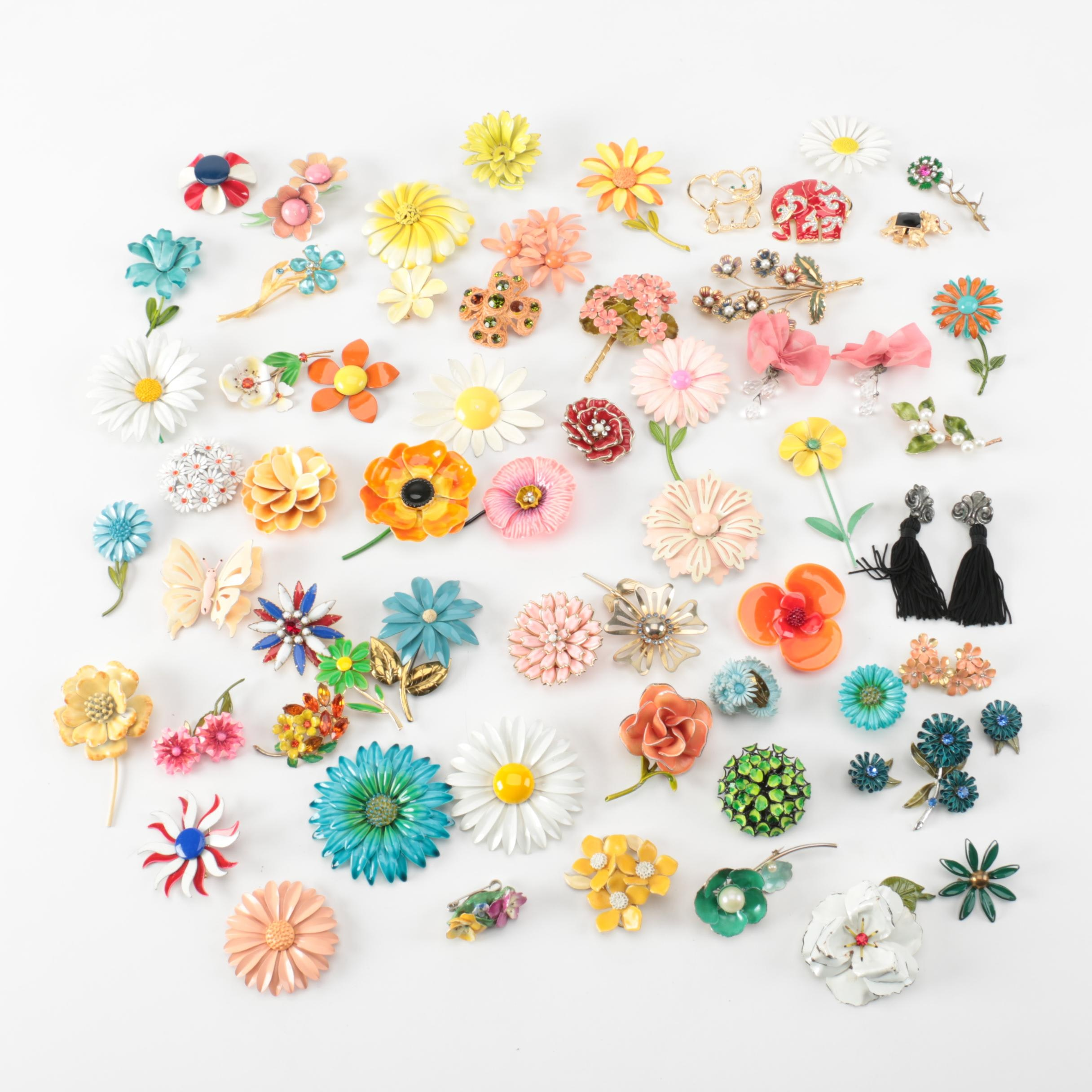 Assortment of Floral Brooches and Earrings Including Lisner, Coro and Hobé