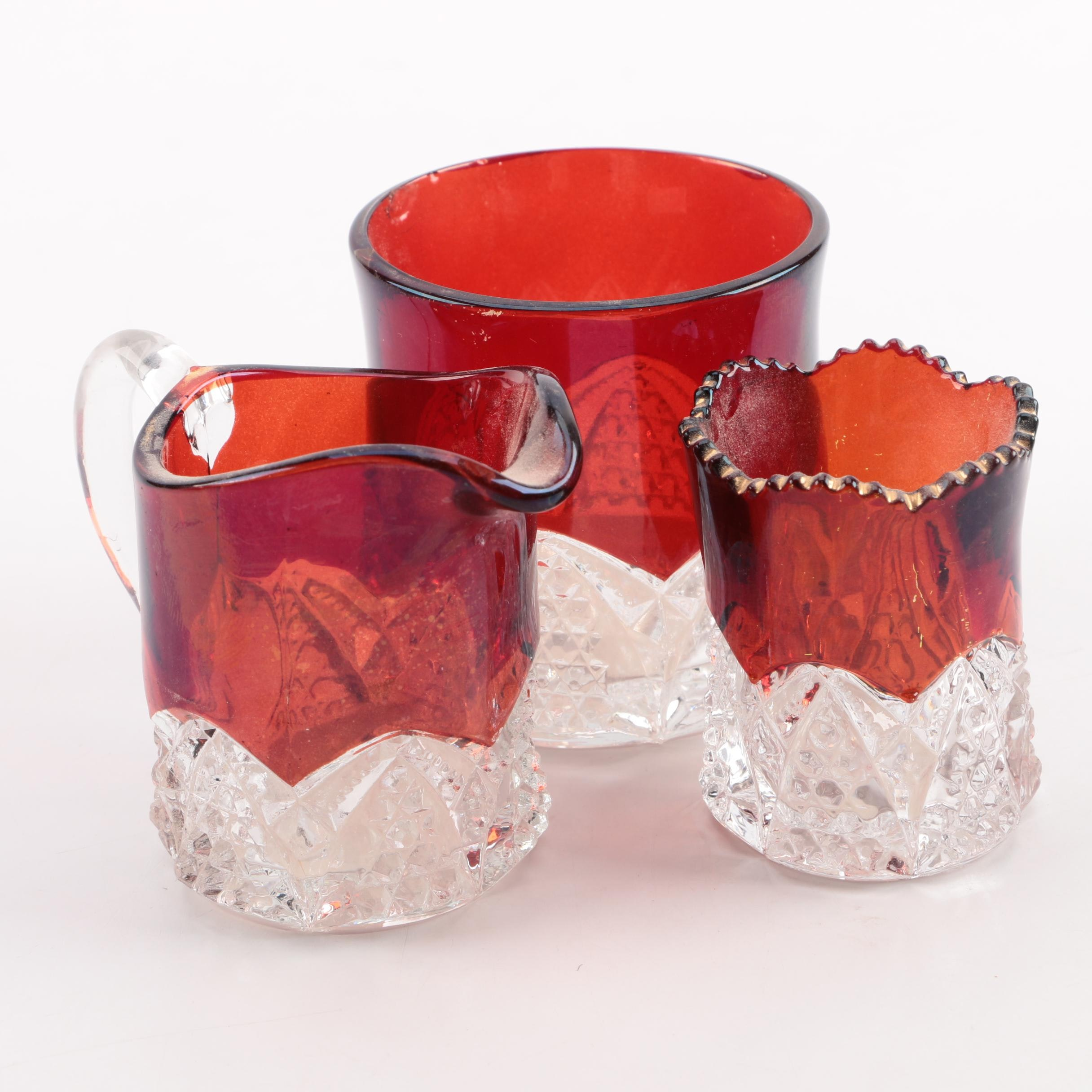 Antique Flashed Ruby Glass Serveware