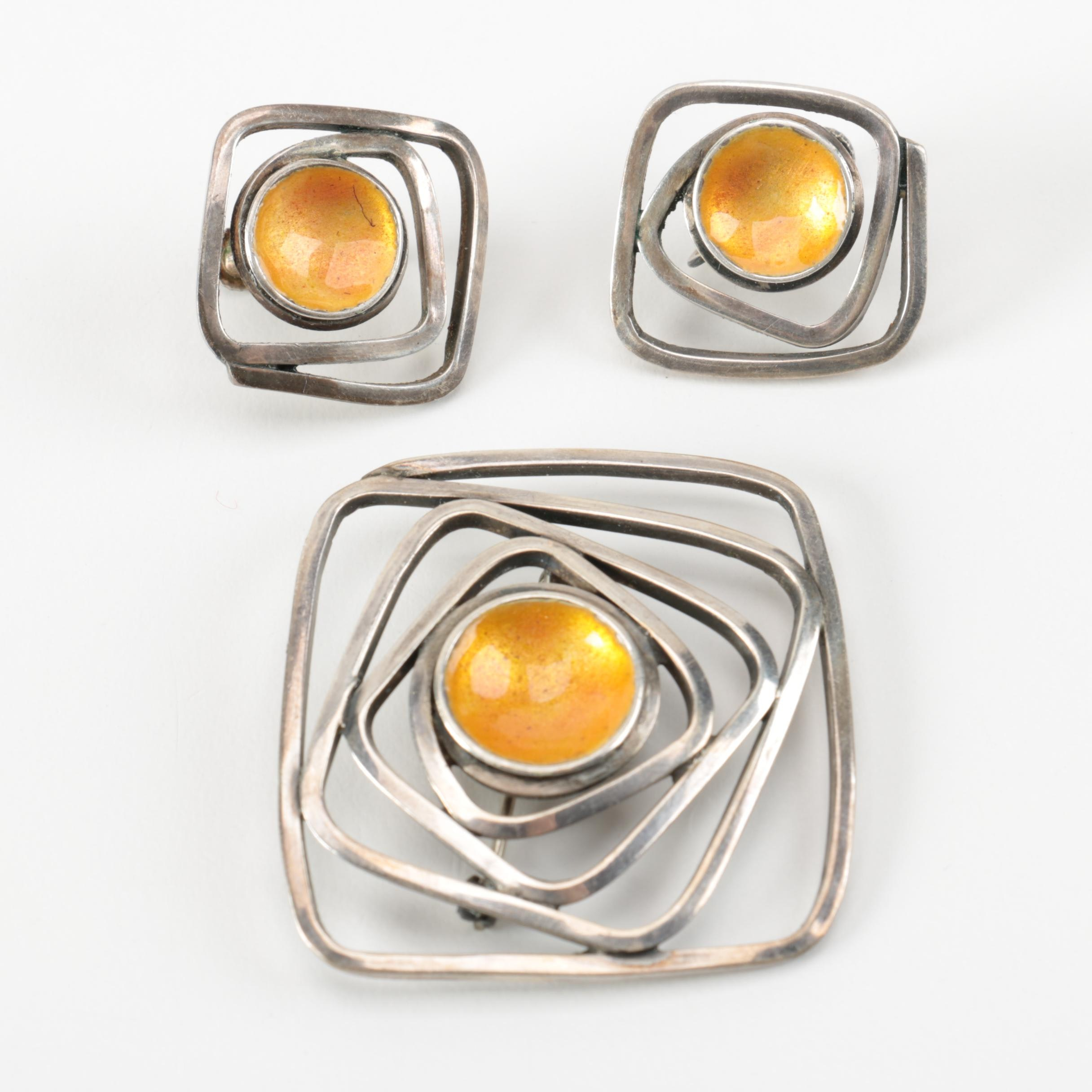 John Bryan Sterling Silver Modernist Style Matching Brooch and Earrings