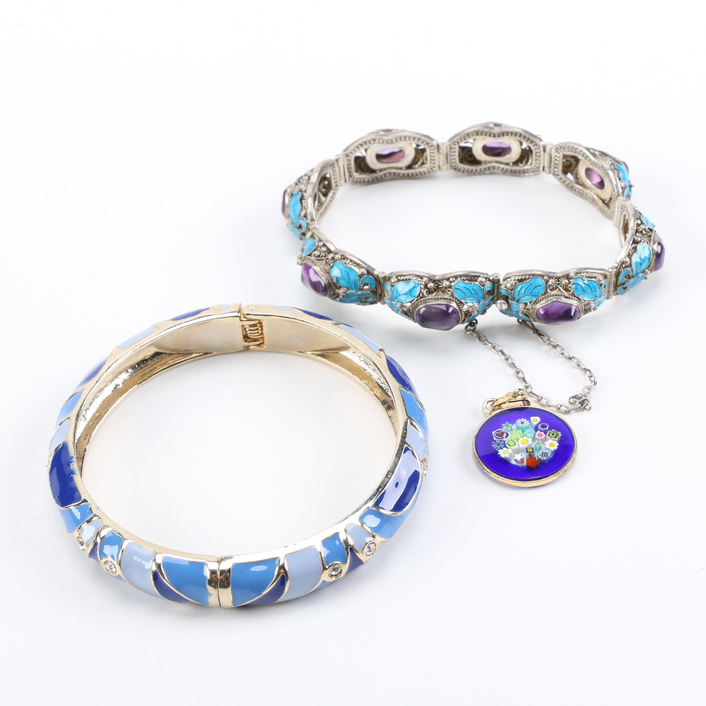 Sterling Silver Bracelets and Millefiori Pendant
