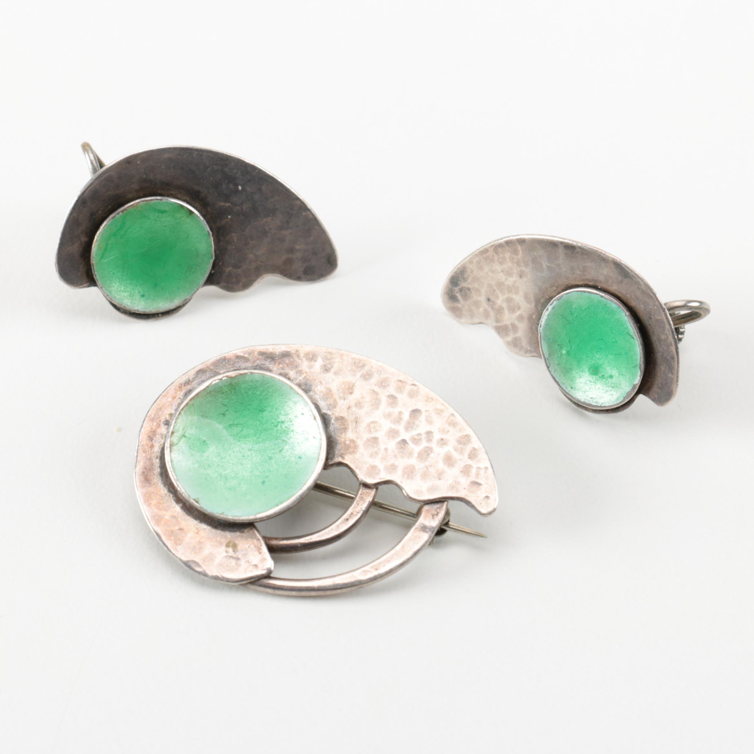 John Bryan Sterling Silver Brooch and Earrings
