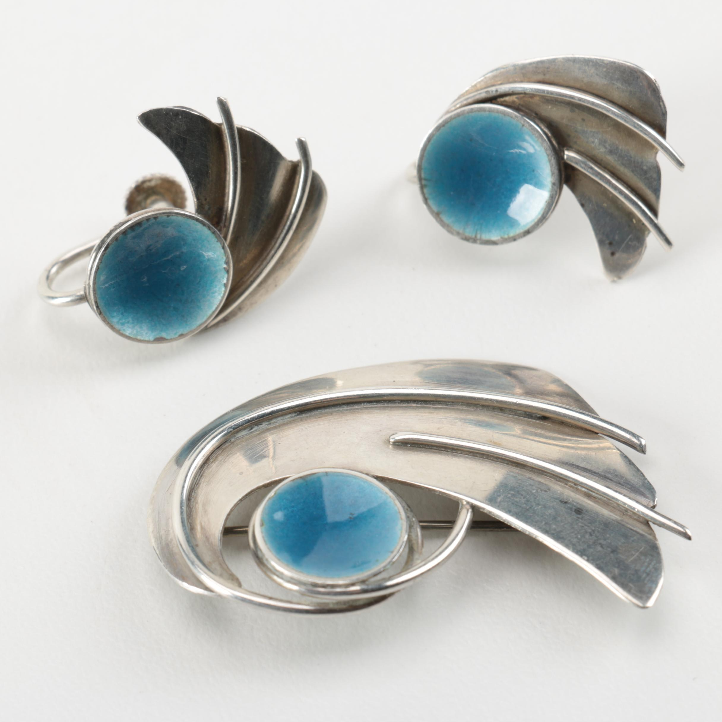 John Bryan Modernist Style Sterling Silver Matching Brooch and Earrings