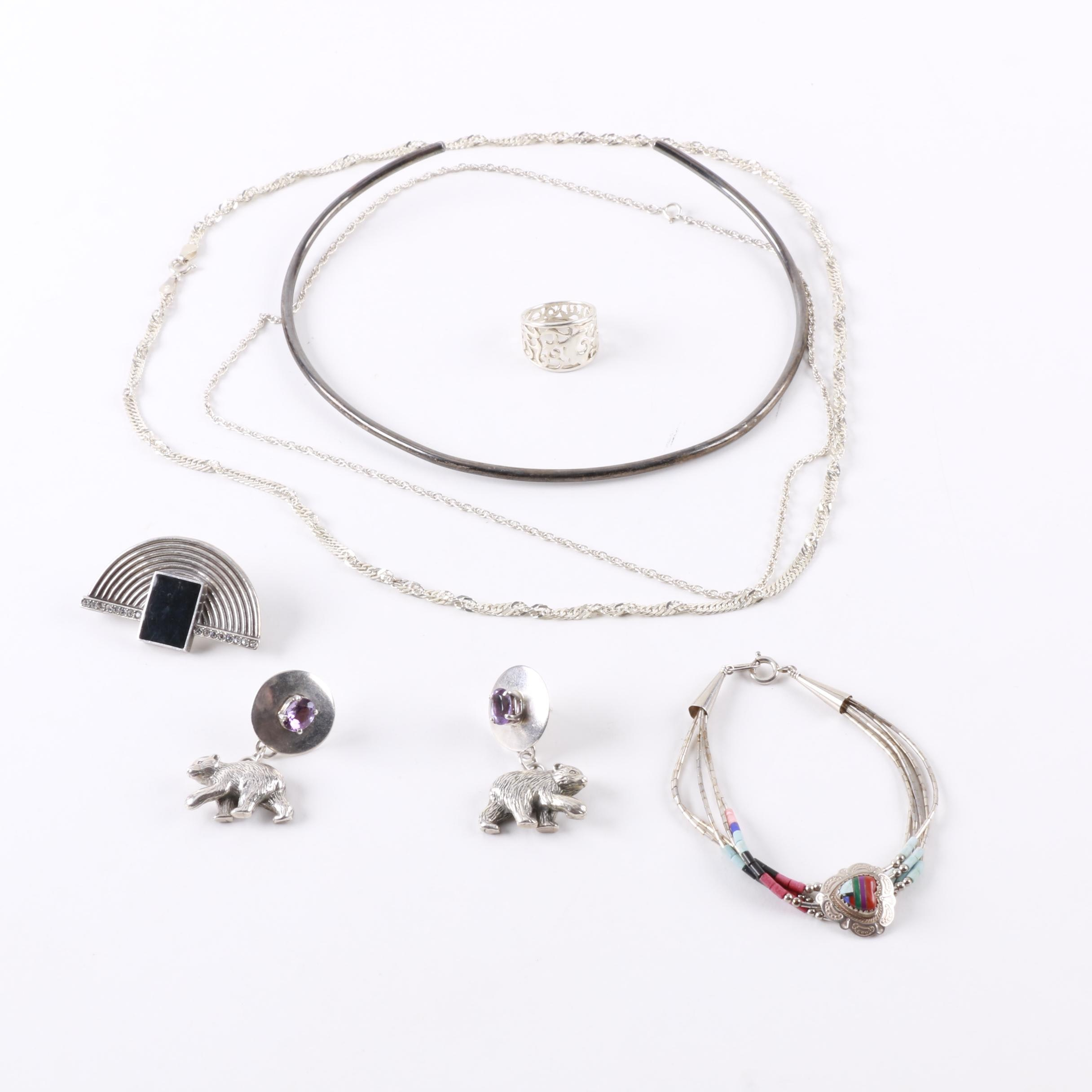 Selection of Sterling Silver Jewelry Including Southwest Style Pieces