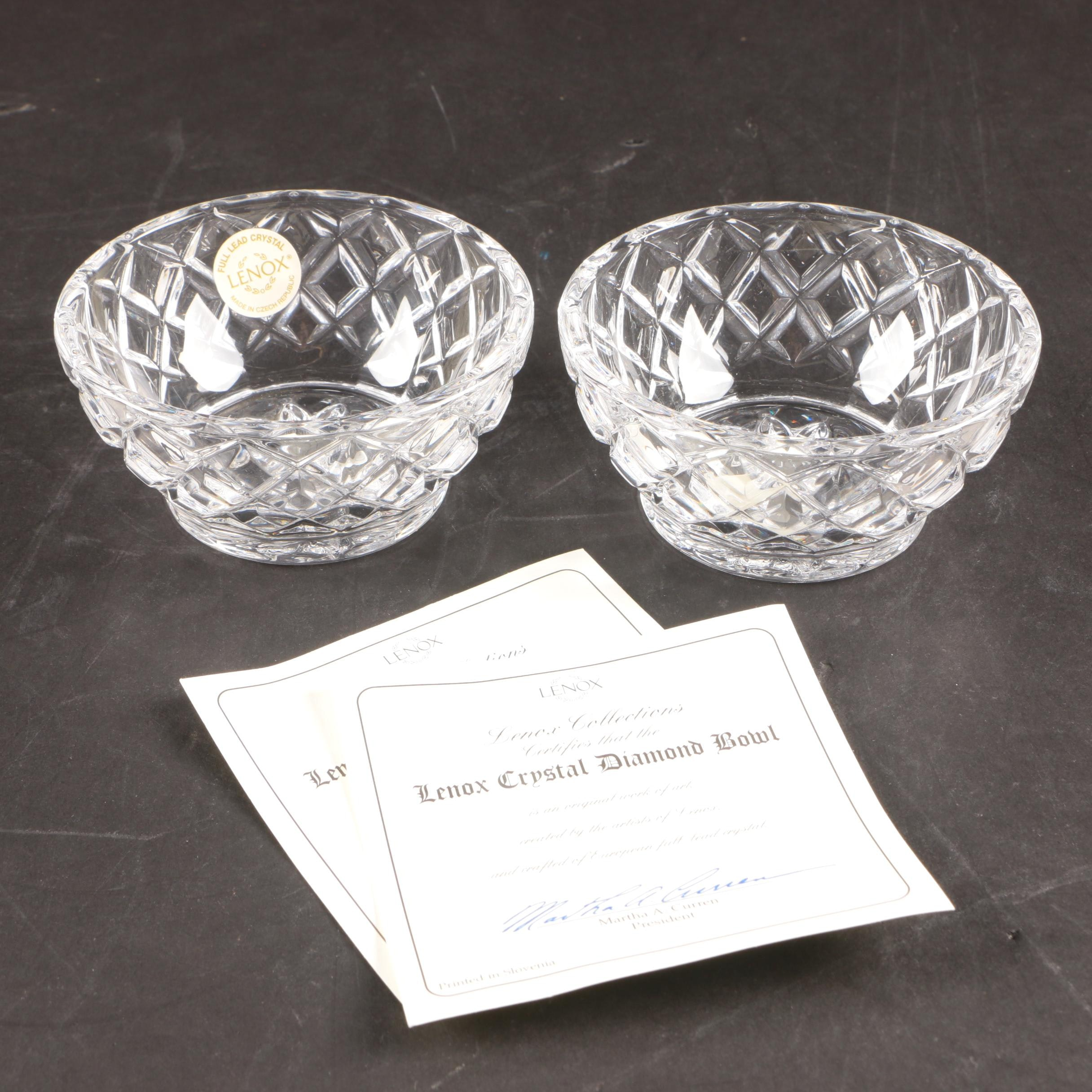 "Lenox Crystal ""Diamond"" Pattern Bowls"