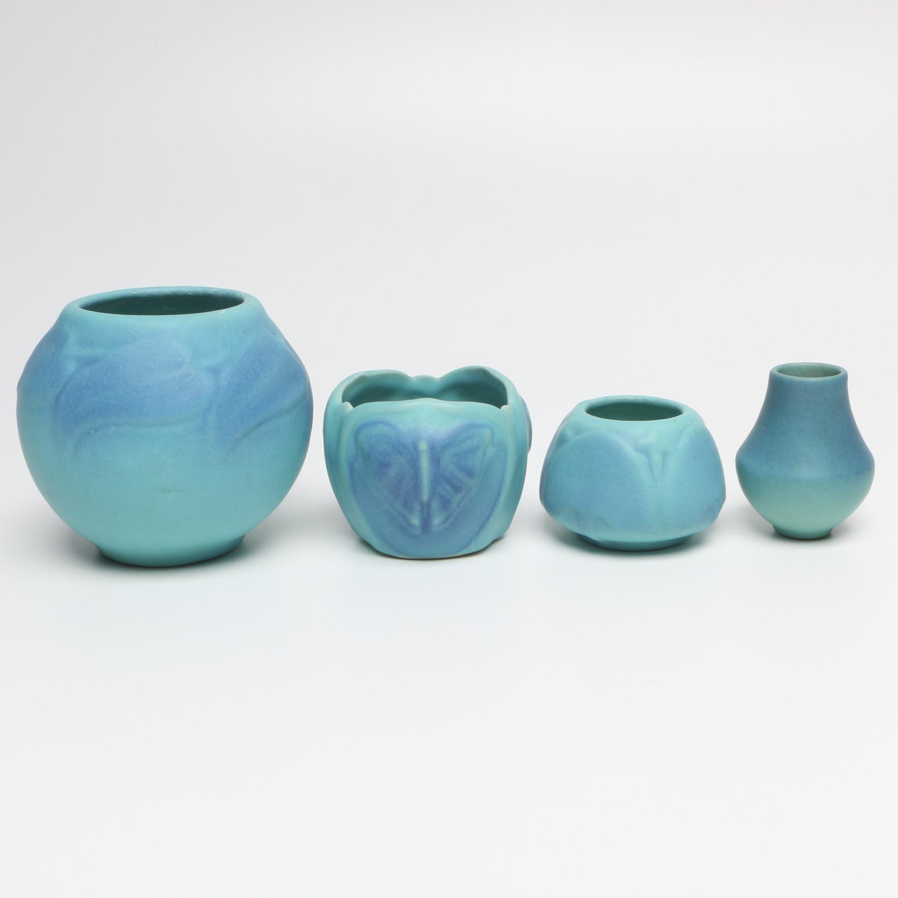 Van Briggle Ming Blue Ceramic Vases and Vessels