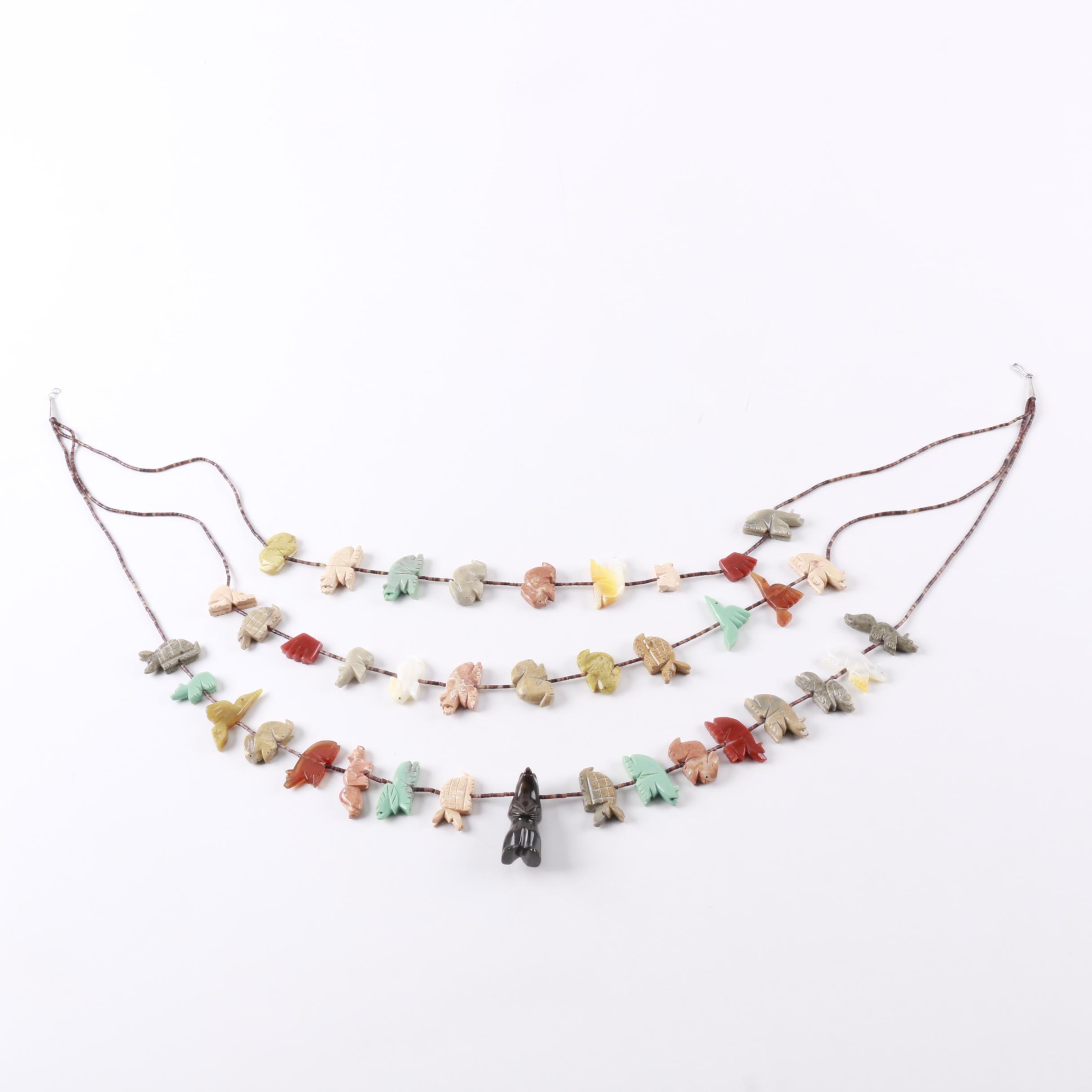 Sterling Silver Beaded Southwest Style Fetish Necklace