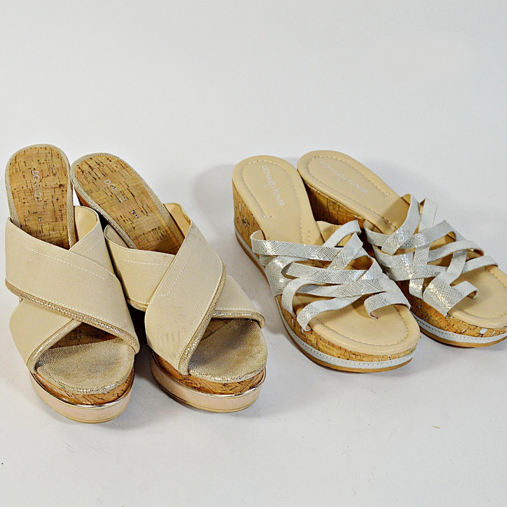 Donald J. Pliner Woven Fabric Peep Toe Wedge Jute Heels, 8.5B