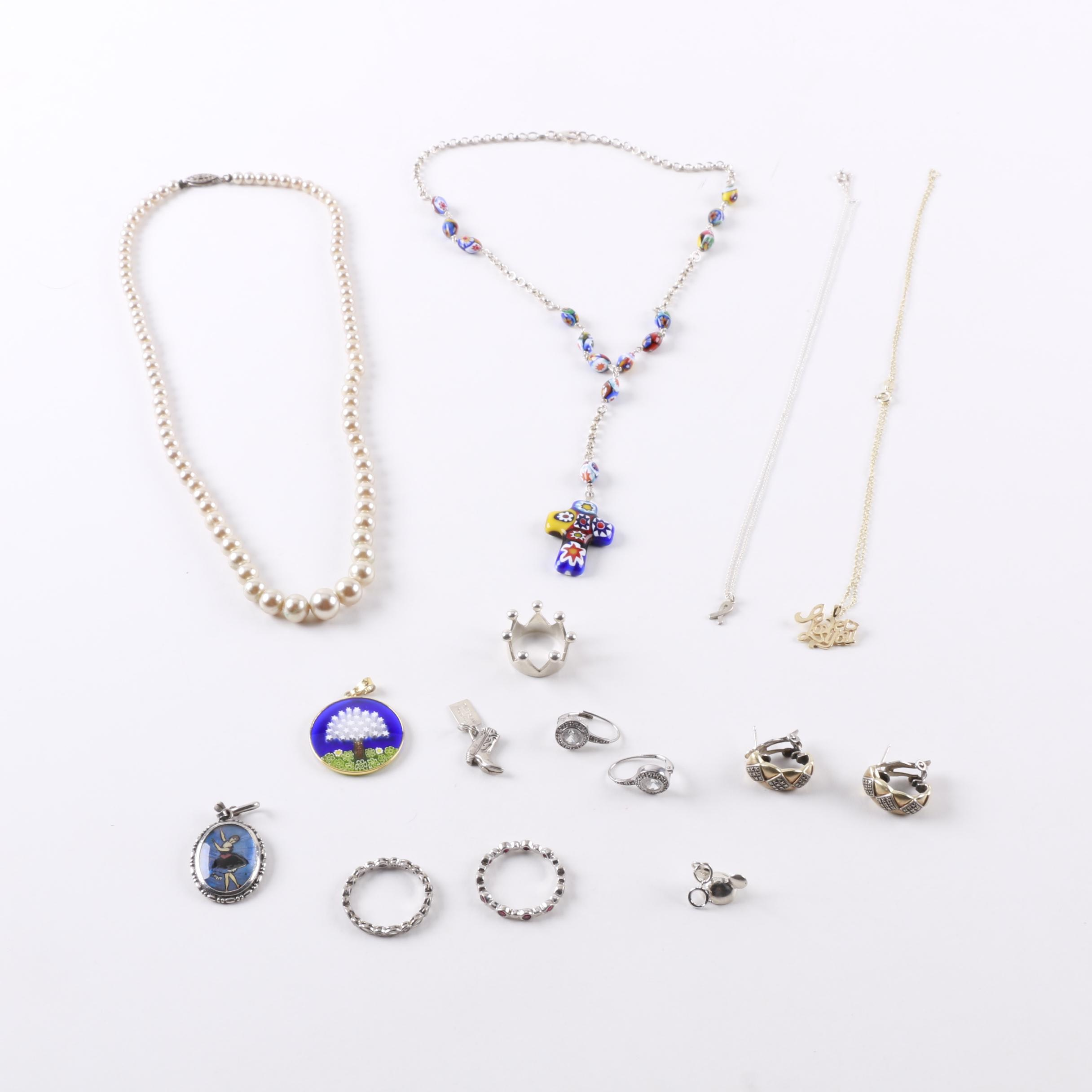 Costume Jewelry Assortment Including Sterling Silver and Millefiori