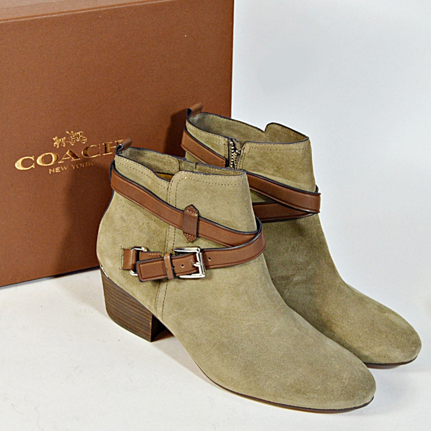 Coach Tan Suede Pauline Ankle Boots, 9B
