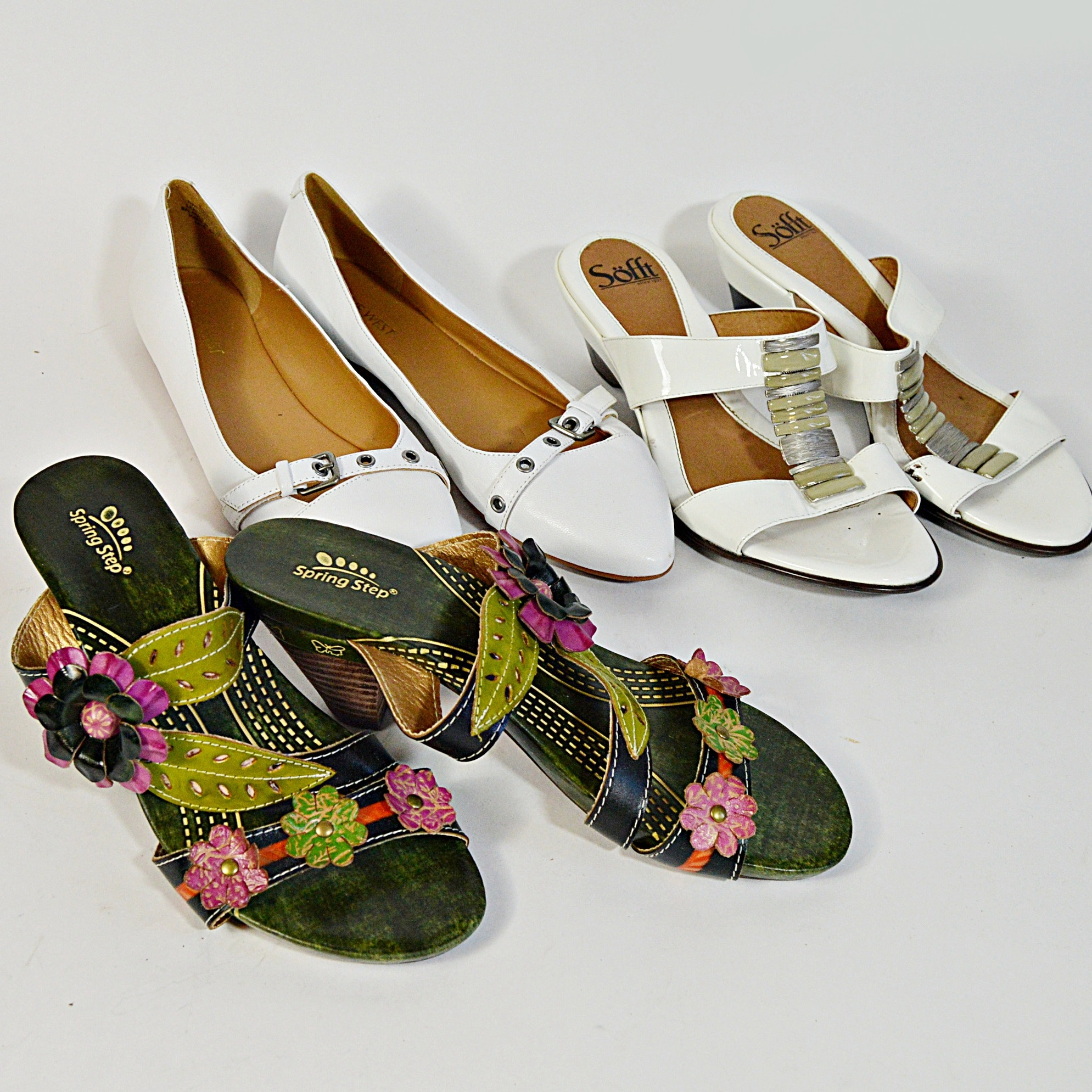 Sofft, Spring Step and Nine West Sandals and Shoes, 38 and 8.5B