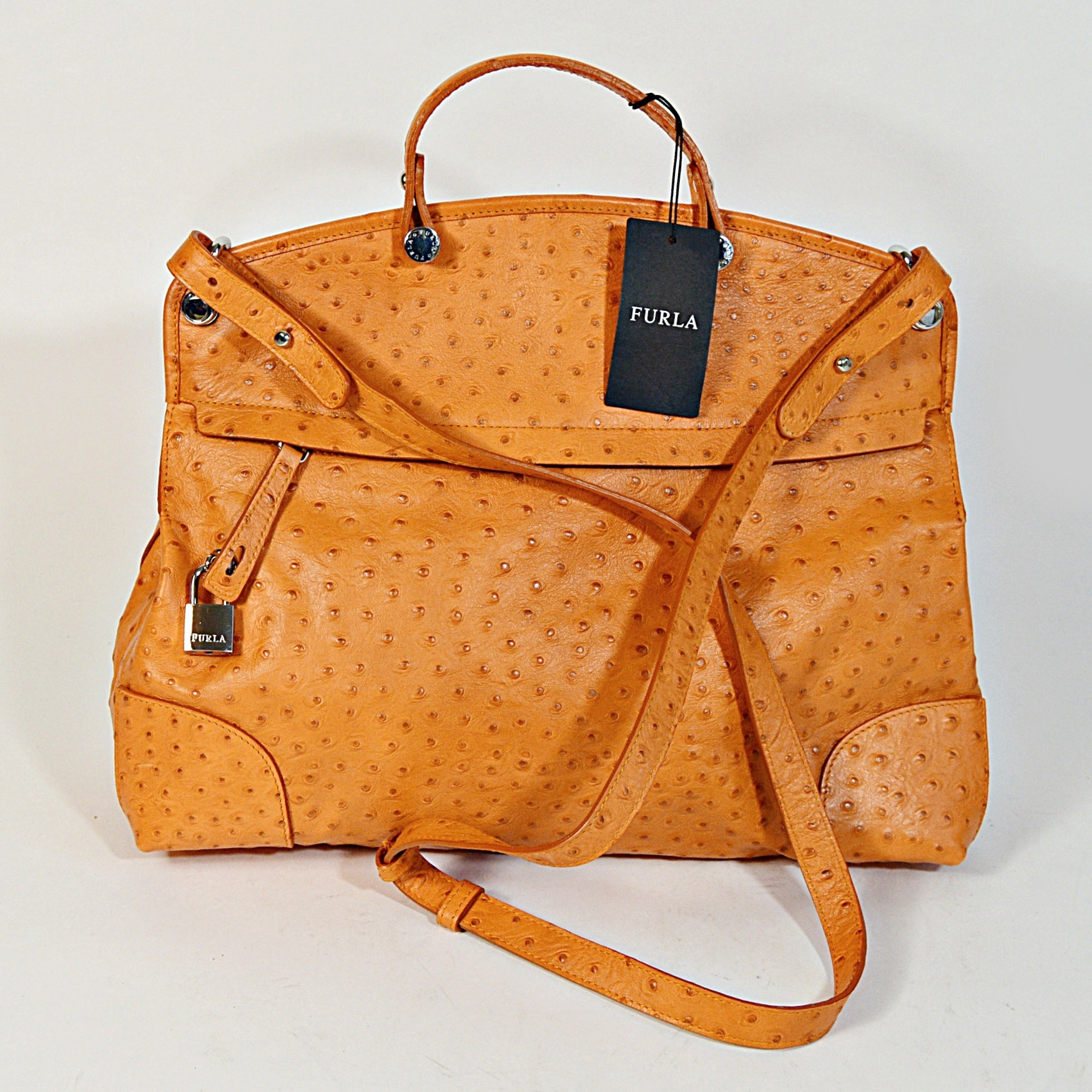 Furla Piper Ostrich-Embossed Leather Satchel Bag