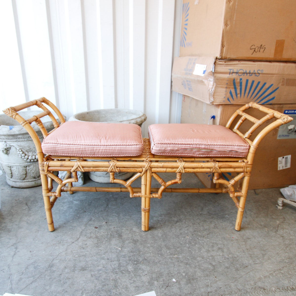 Mid-Century Bamboo Bench