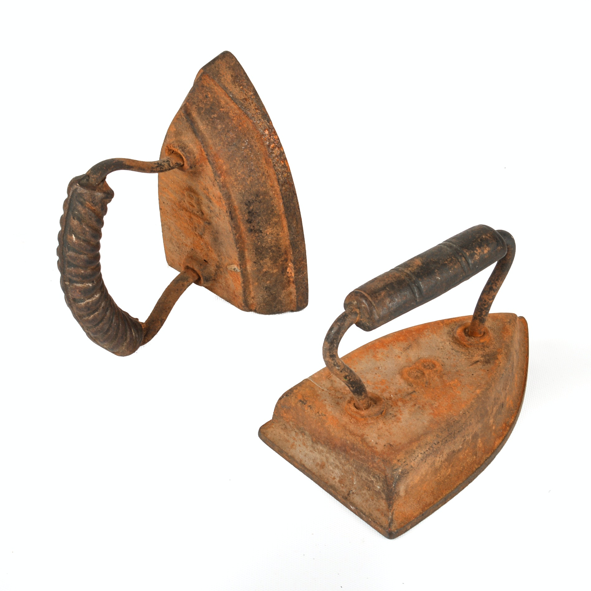 Two Antique Cast Iron Sad Irons