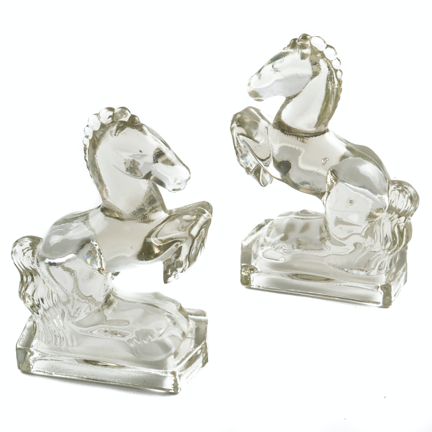Mid-Century L.E. Smith Clear Glass Horse Bookends