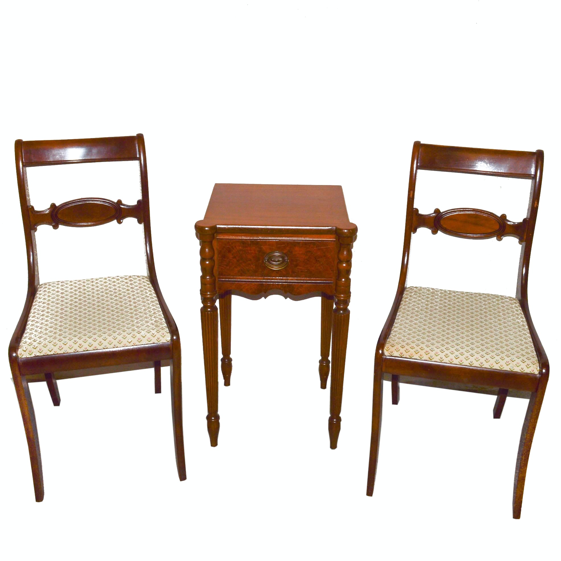 Pair of Regency Style Chairs and Sheraton Style Accent Table