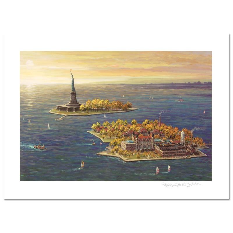 """Ellis Island - Fall"" Mixed Media by Alexander Chen"